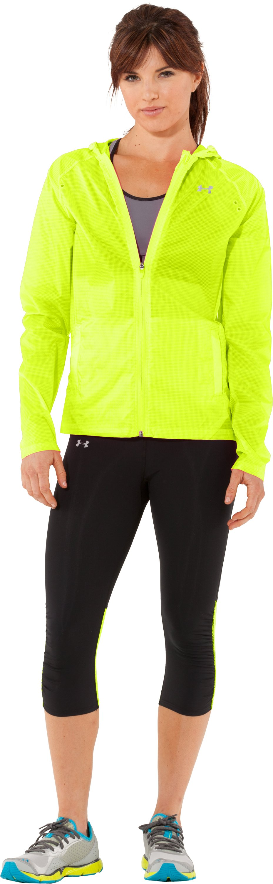 Women's UA See Me Go Translucent Jacket, High-Vis Yellow, Front