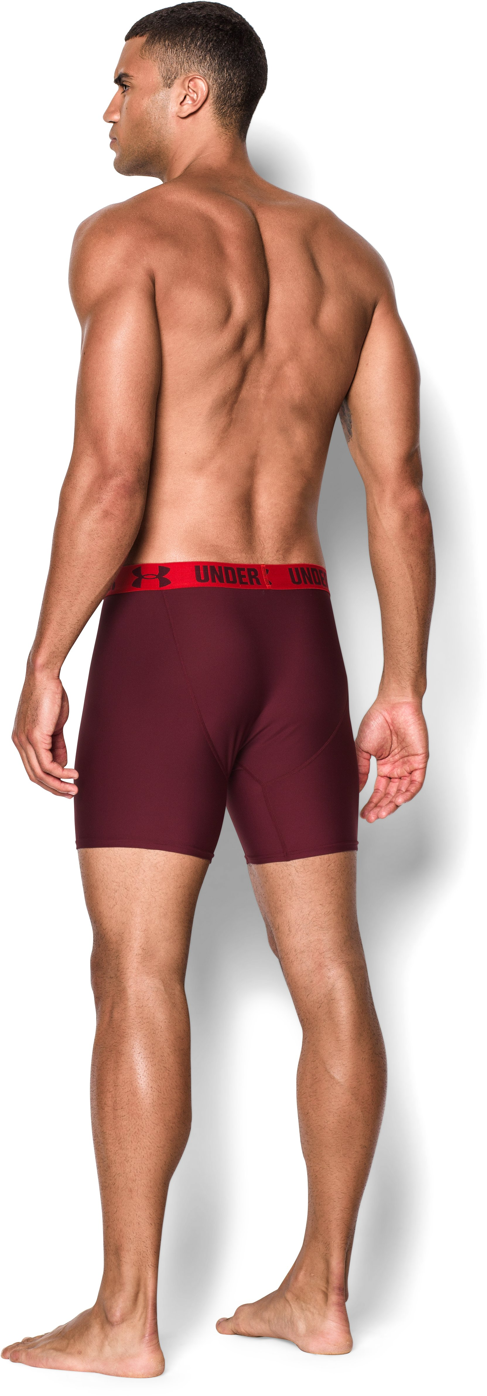 "Men's UA HeatGear® Performance 6"" Boxerjock® 2-Pack, DEEP RED, Back"