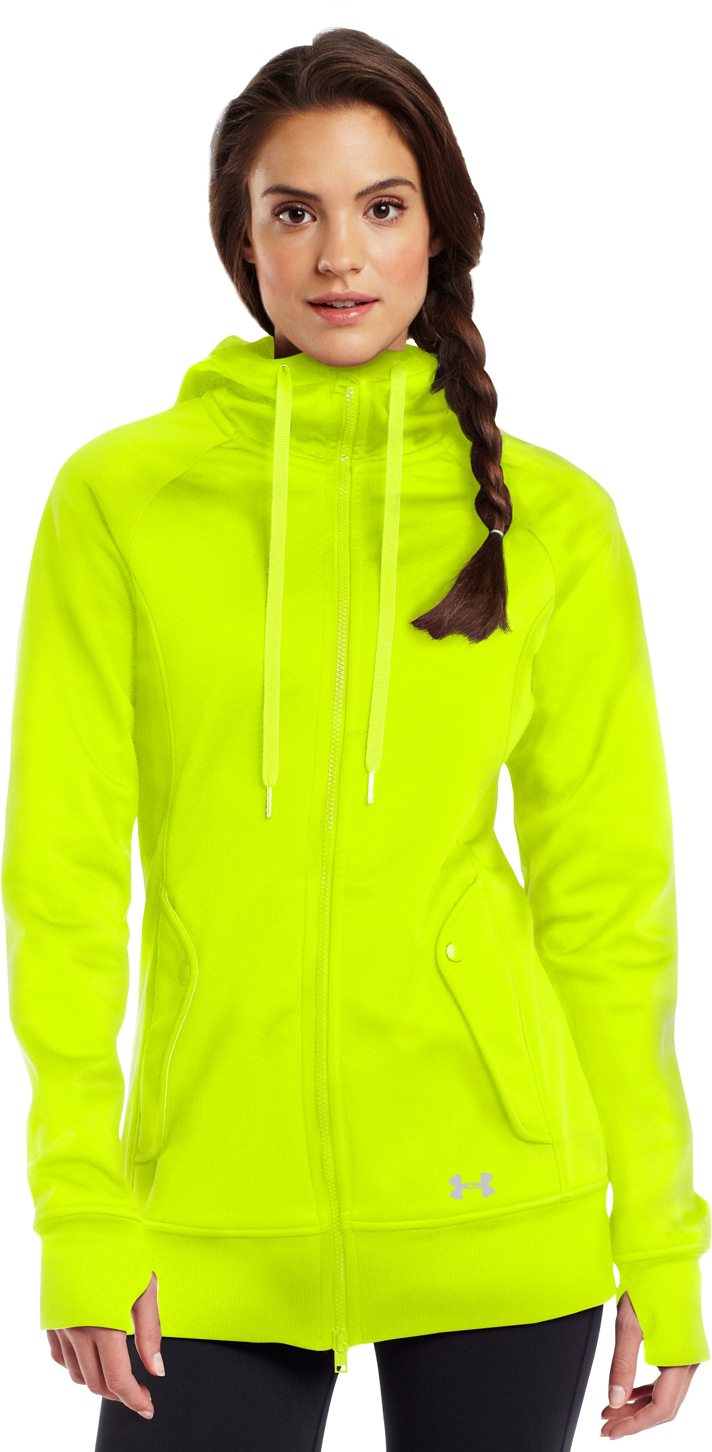 Women's ColdGear® Infrared Softershell, High-Vis Yellow, Front