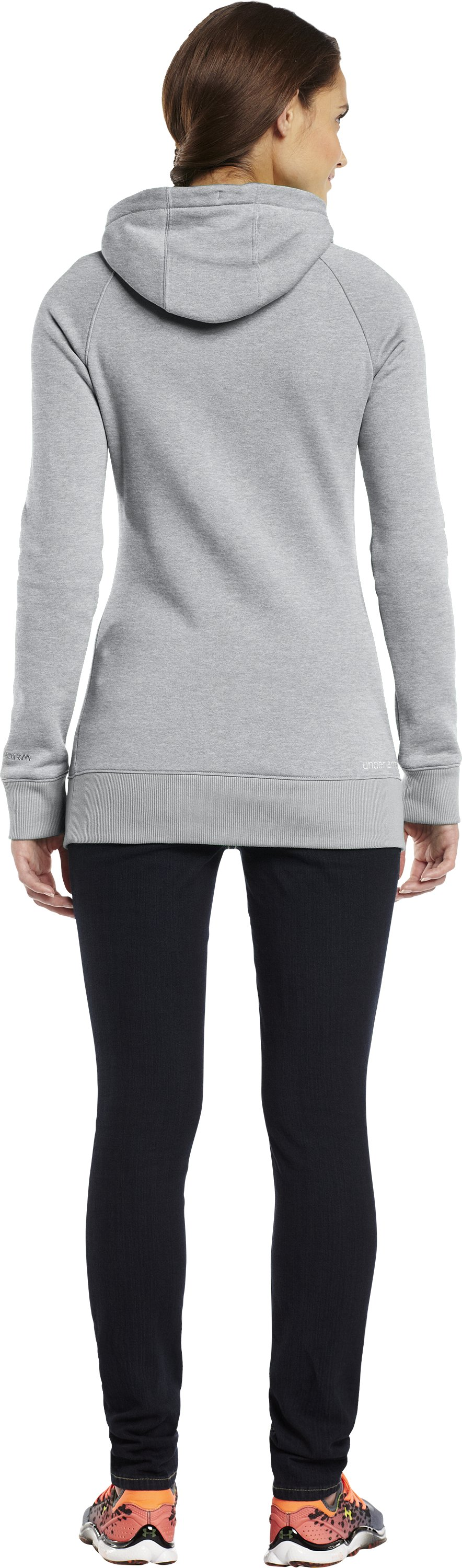 Women's UA MTN Charged Cotton® Storm Hoodie, True Gray Heather, Back