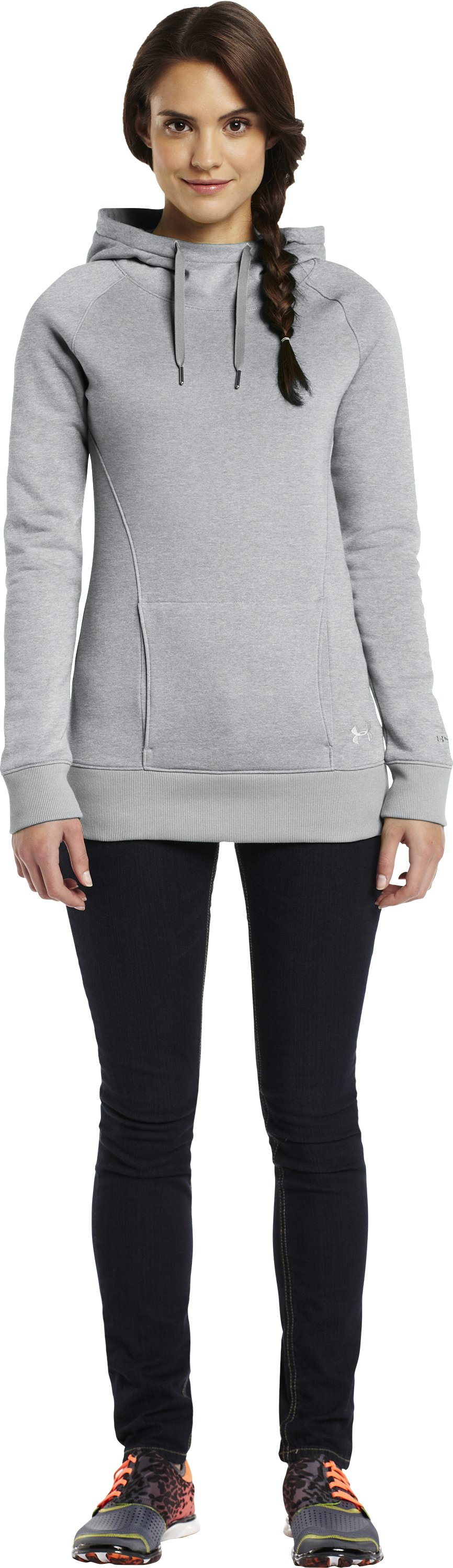 Women's UA MTN Charged Cotton® Storm Hoodie, True Gray Heather, Front