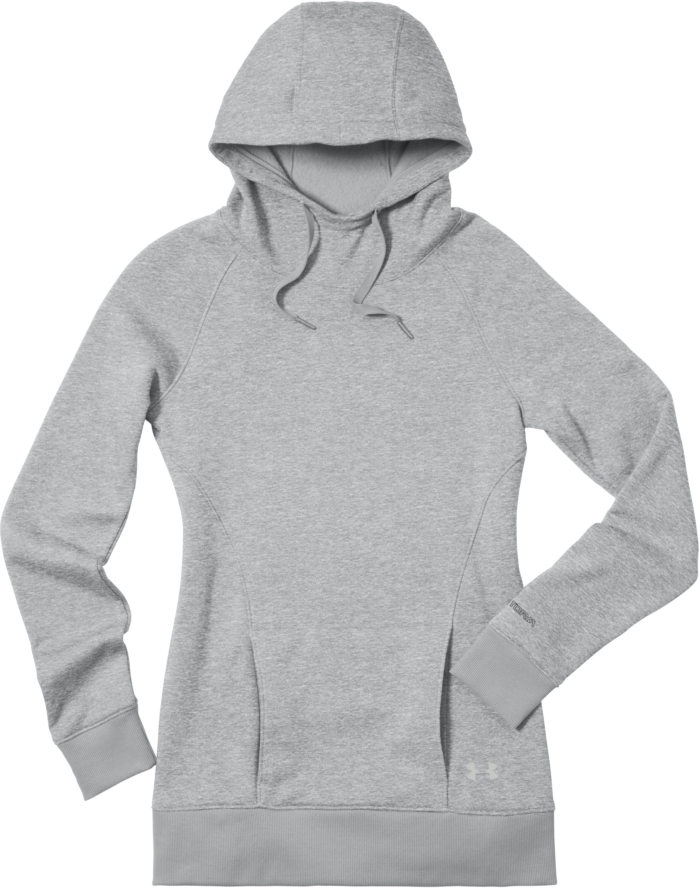 Women's UA MTN Charged Cotton® Storm Hoodie, True Gray Heather, Laydown