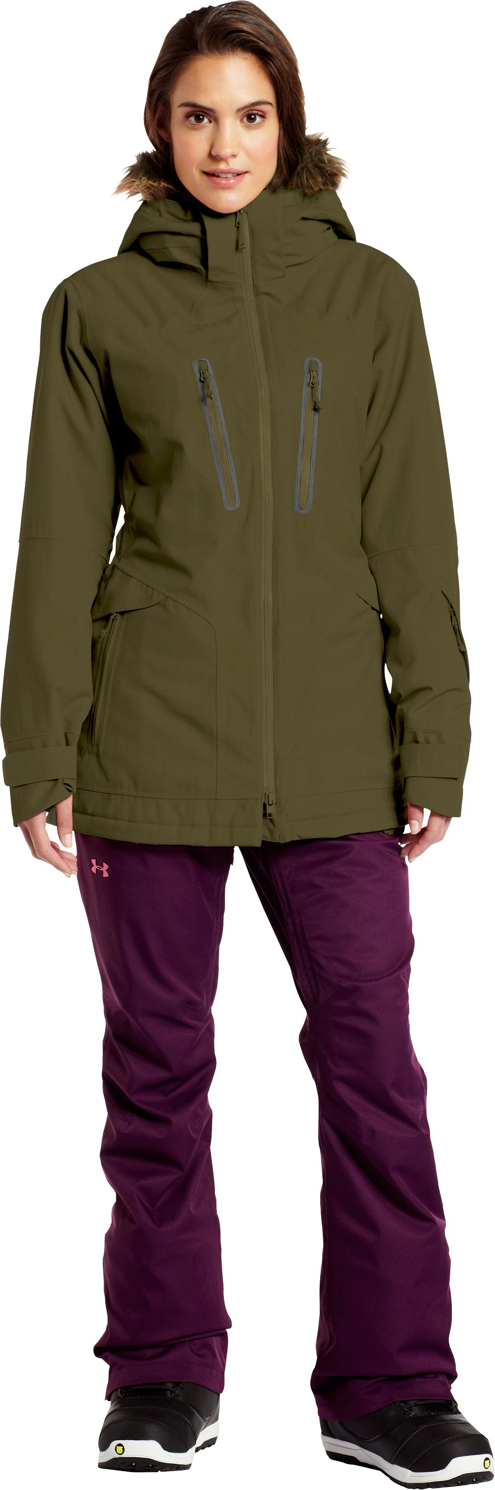 Women's ColdGear® Infrared Cleopatra Jacket, GREENHEAD, Front