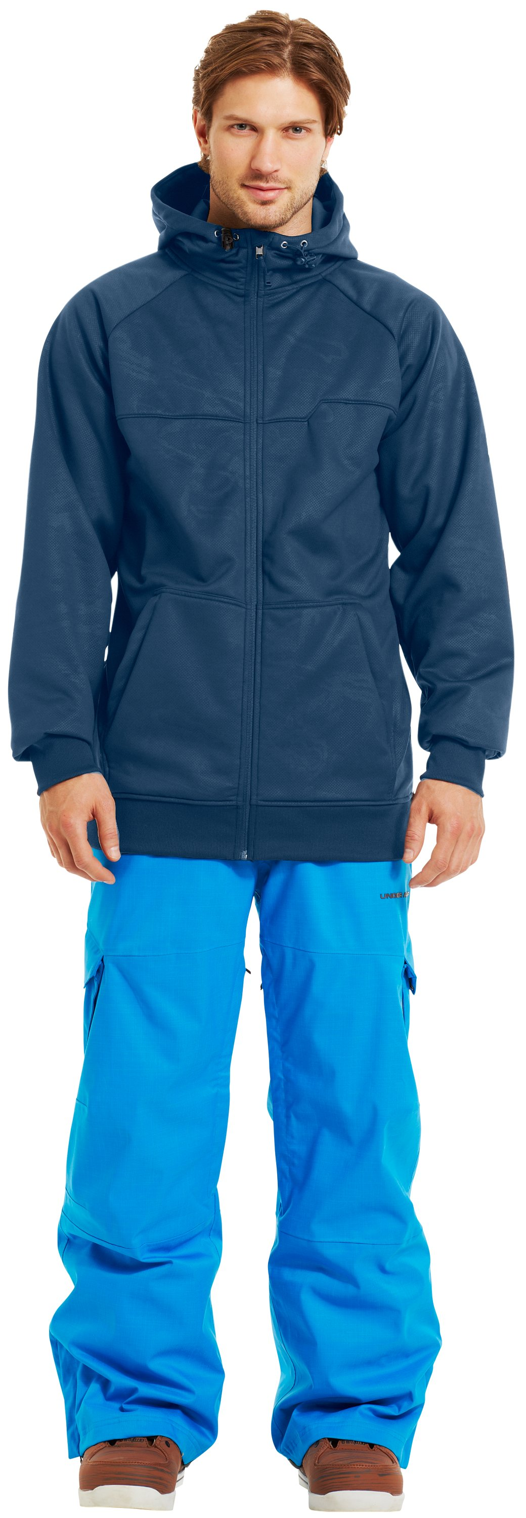 Men's Armour® Fleece Storm Embossed Hoodie, PETROL BLUE