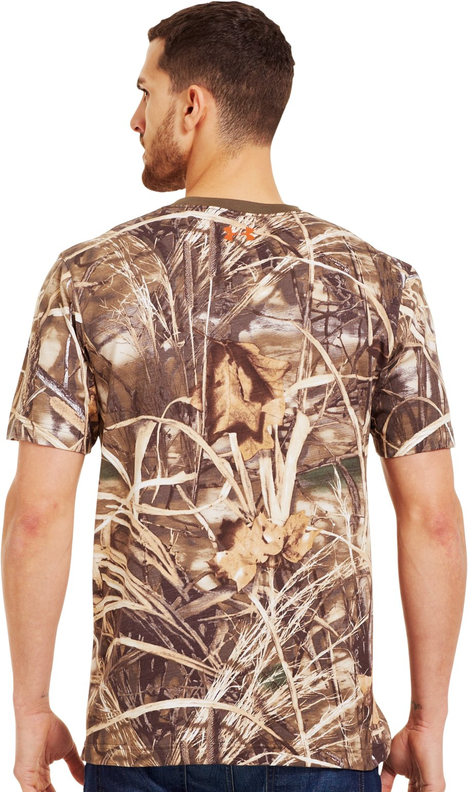 Men's Charged Cotton® Camo Short Sleeve T-Shirt, Realtree Max, Back