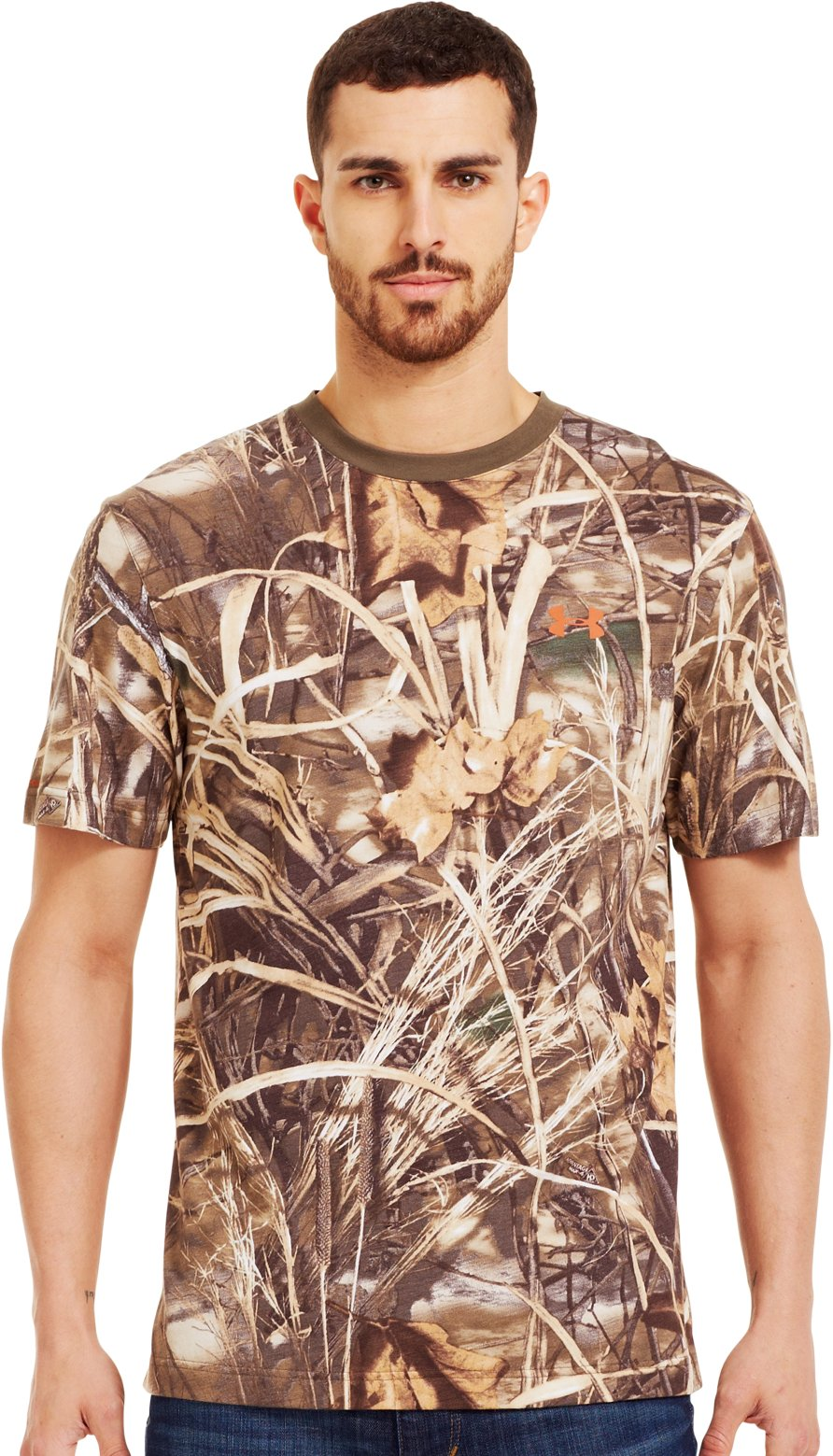 Men's Charged Cotton® Camo Short Sleeve T-Shirt, Realtree Max, Front