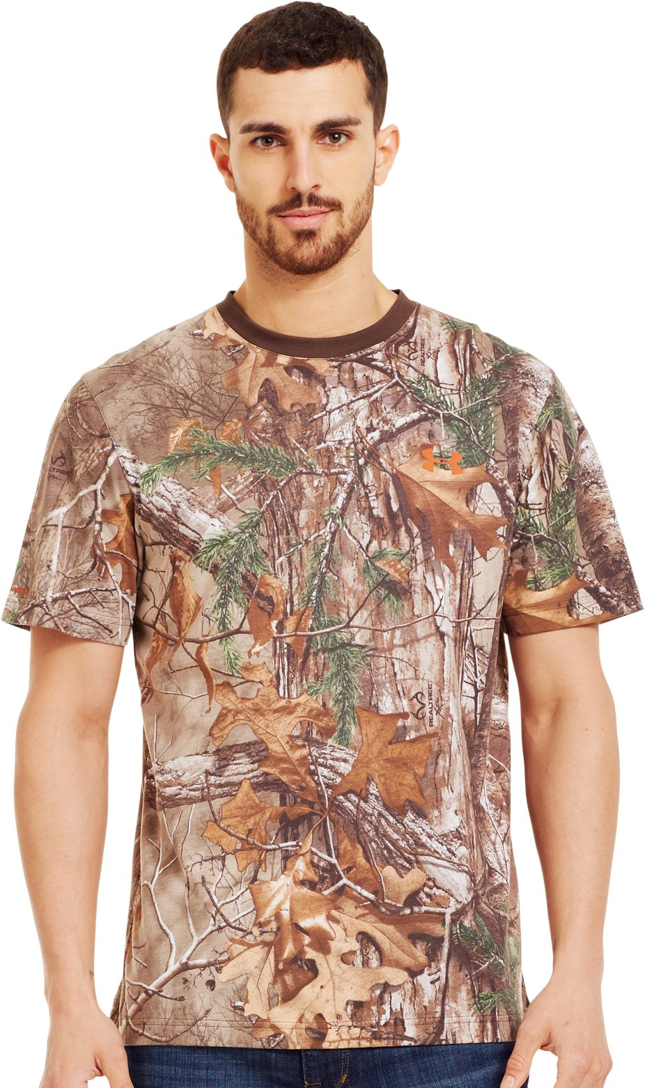 Men's Charged Cotton® Camo Short Sleeve T-Shirt, REALTREE AP-XTRA, Front