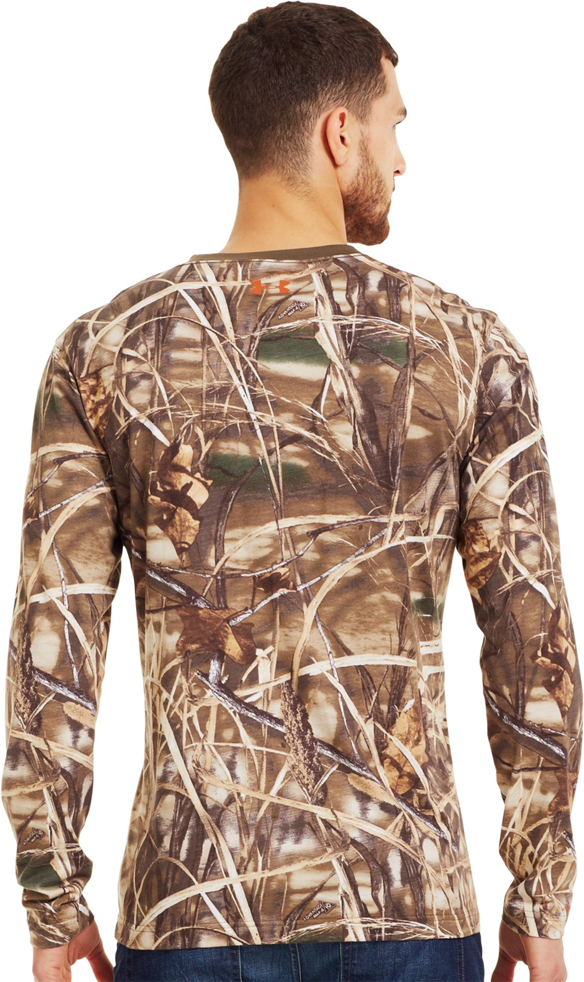 Men's Charged Cotton® Camo Long Sleeve T-Shirt, Realtree Max, Back