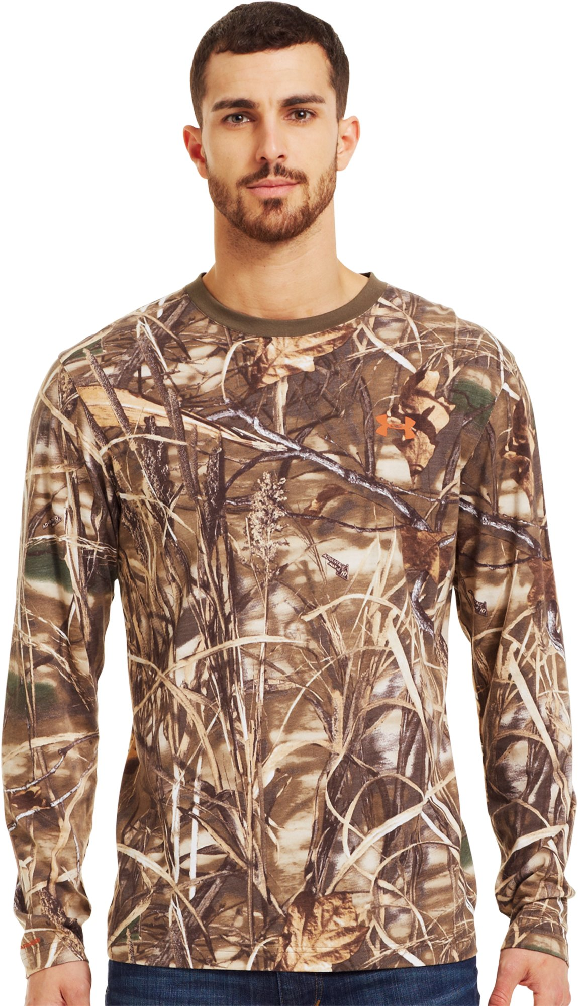 Men's Charged Cotton® Camo Long Sleeve T-Shirt, Realtree Max, Front