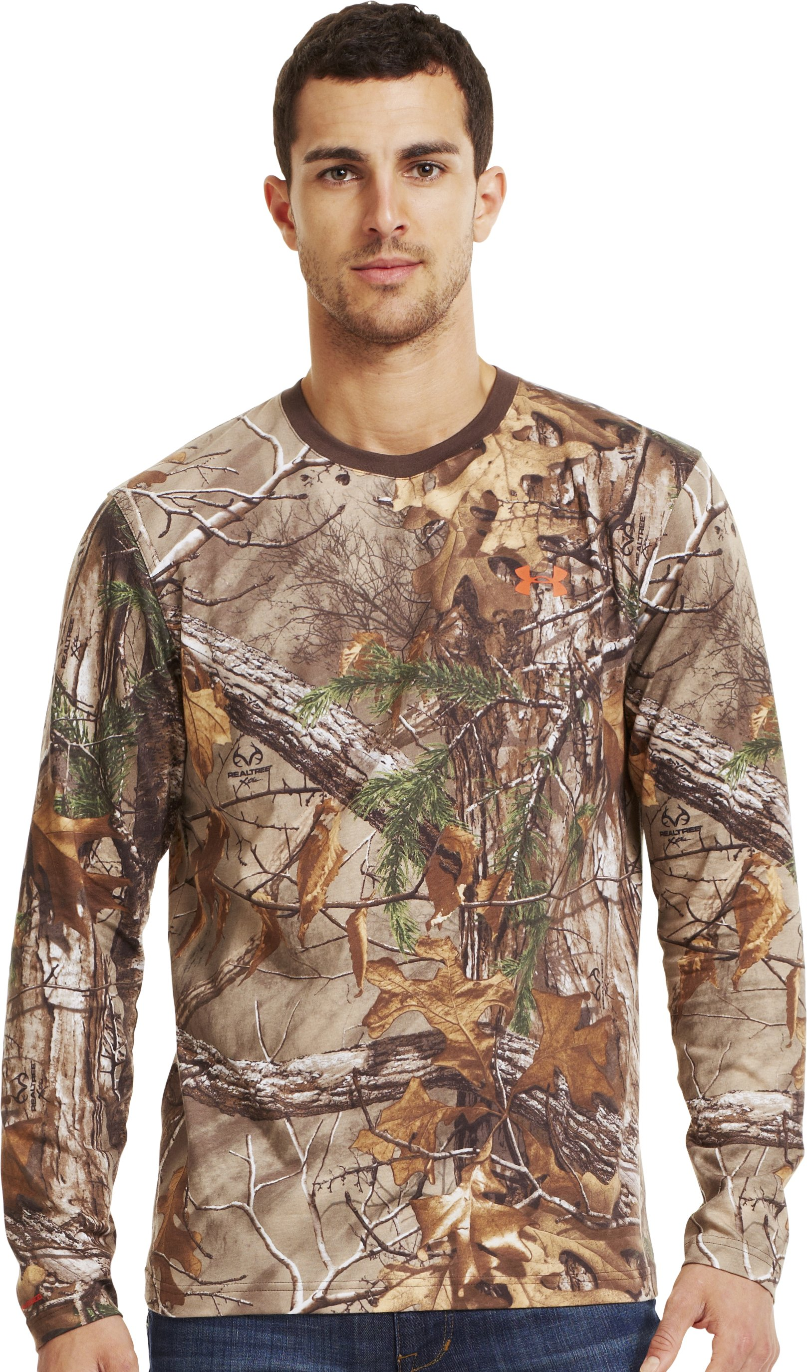 Men's Charged Cotton® Camo Long Sleeve T-Shirt, REALTREE AP-XTRA, Front