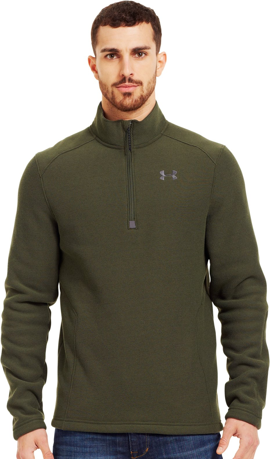 Men's UA Specialist ¼ Zip, Rifle Green, Front