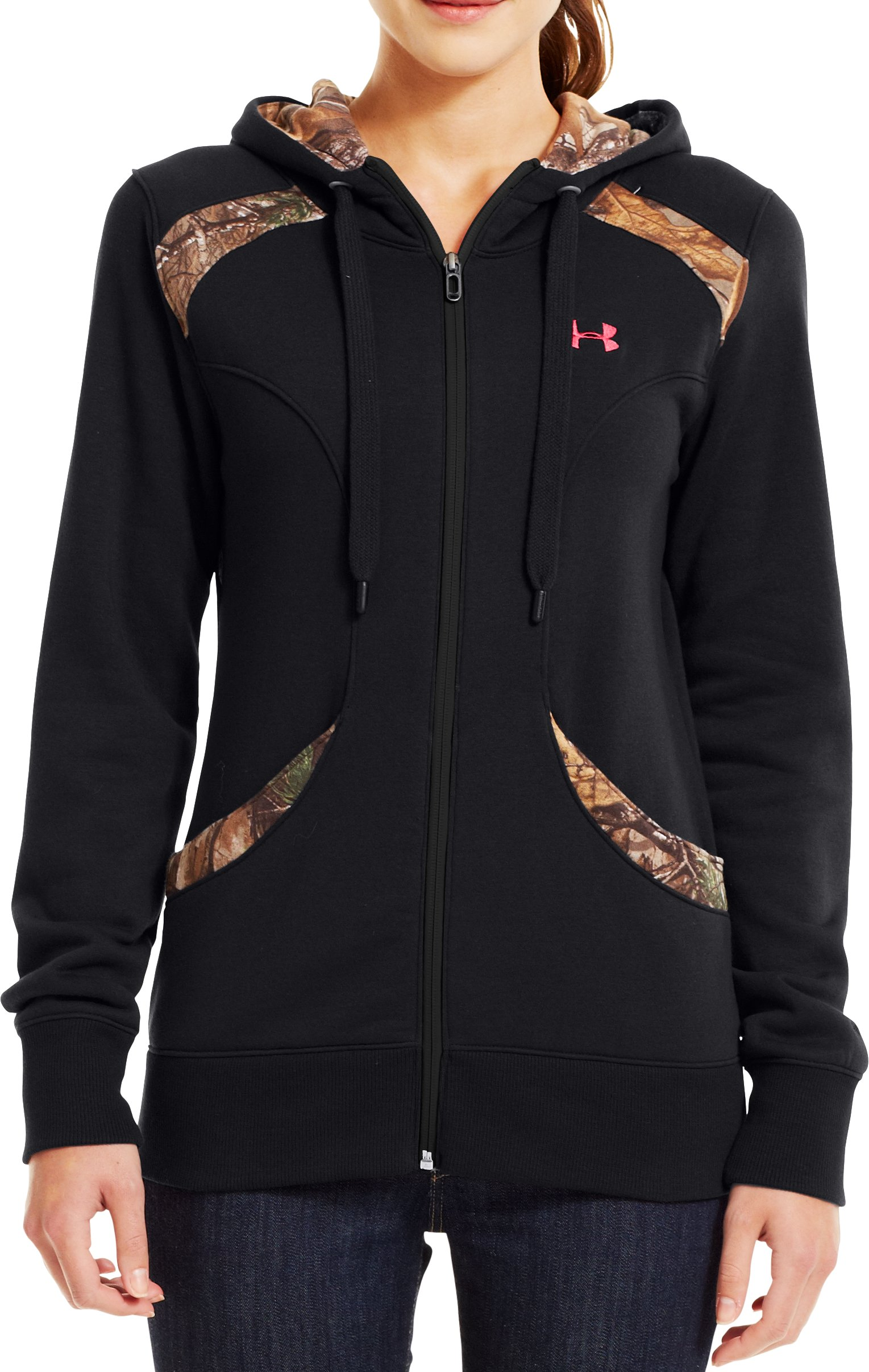 Women's UA Charged Cotton® Storm Full Zip Hoodie, Black , zoomed image