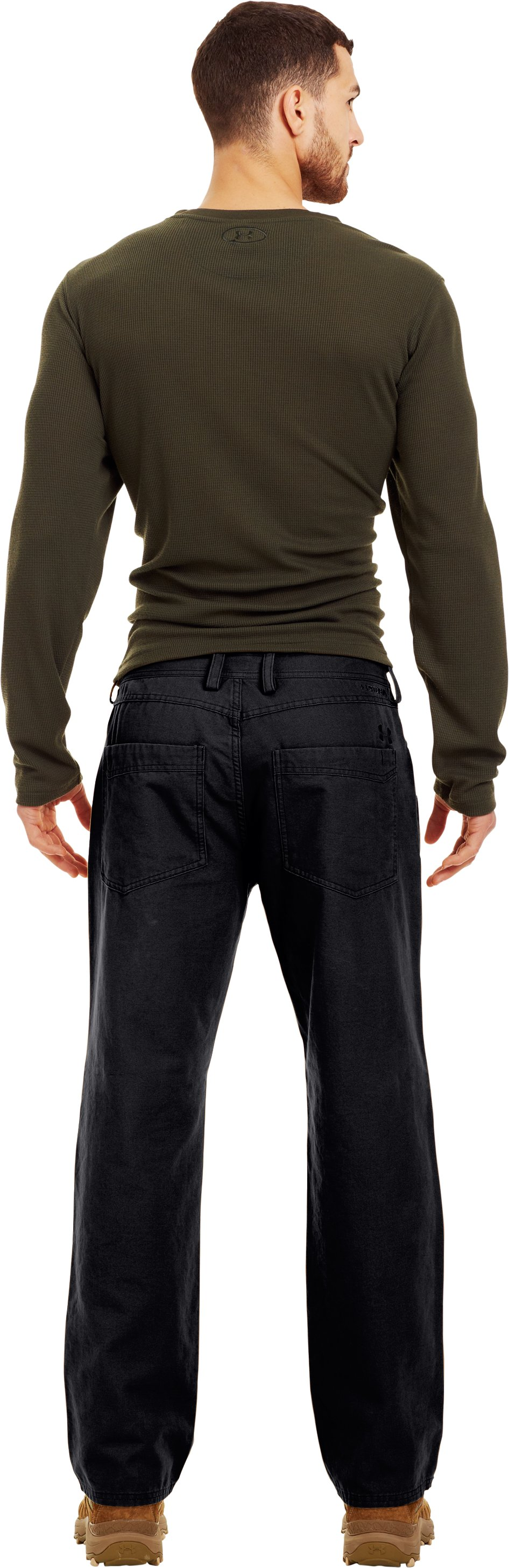 Men's UA High Plains Pants, Black , Back