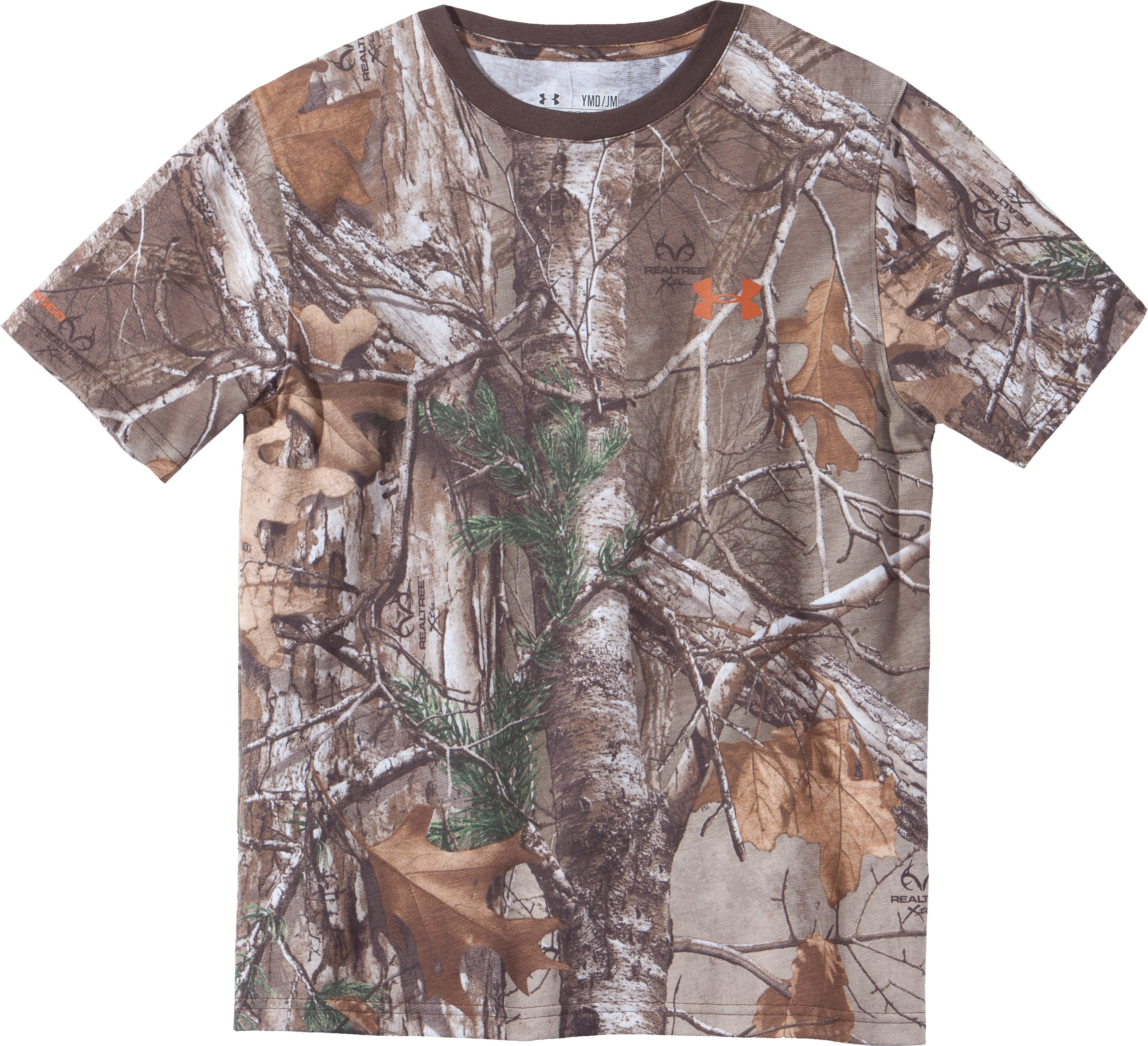 Boys' Charged Cotton® Camo Short Sleeve T-Shirt, REALTREE AP-XTRA, Laydown