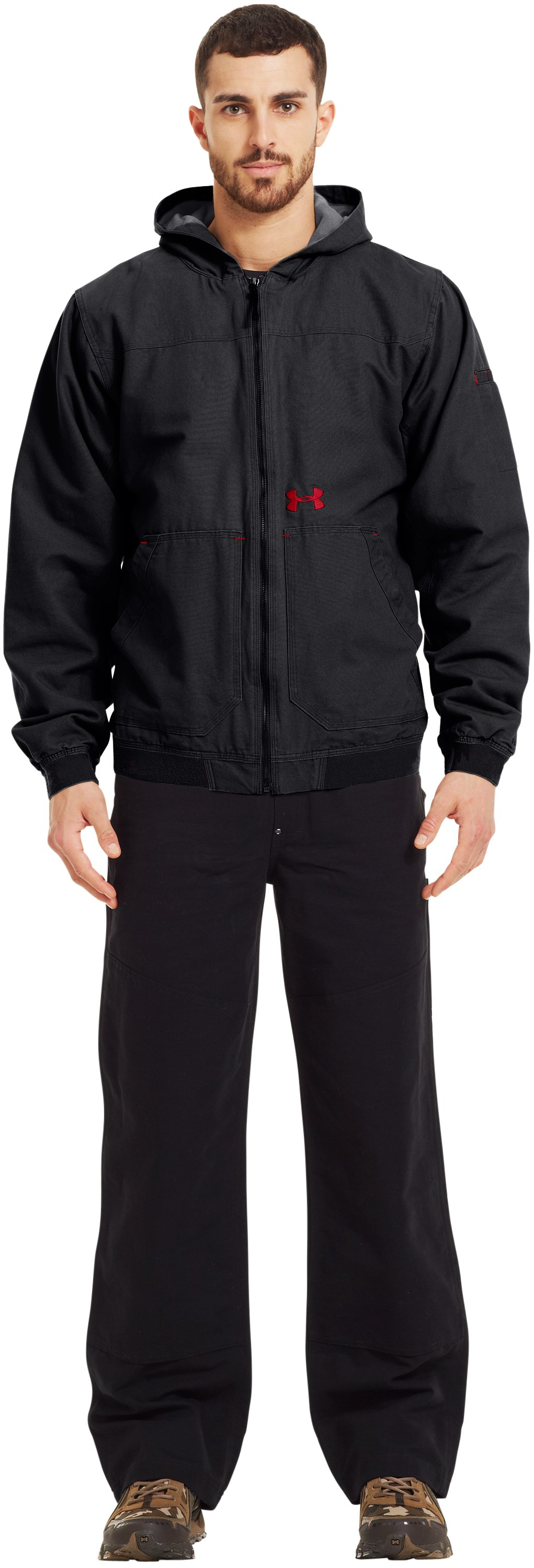 Men's UA Burley Hooded Jacket, Black , Front