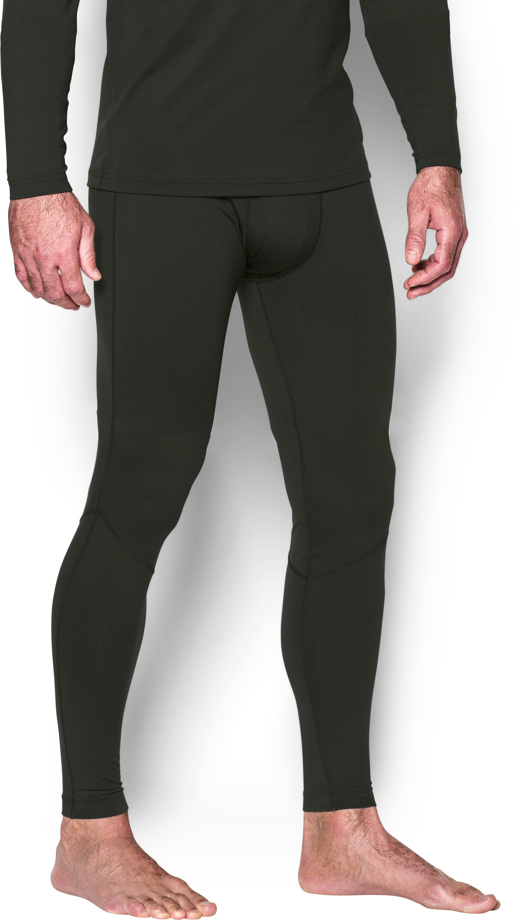 Men's UA ColdGear® Infrared Fitted Leggings, Artillery Green, zoomed image