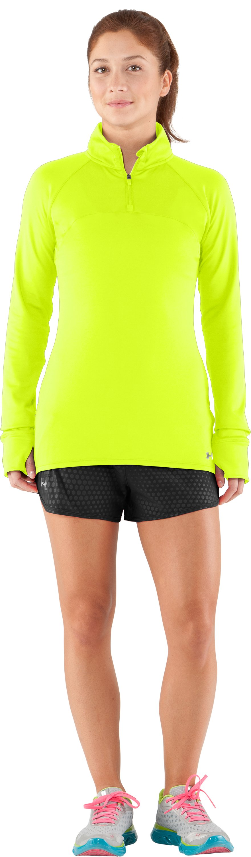 Women's UA Escape ¼ Zip III, High-Vis Yellow, zoomed image