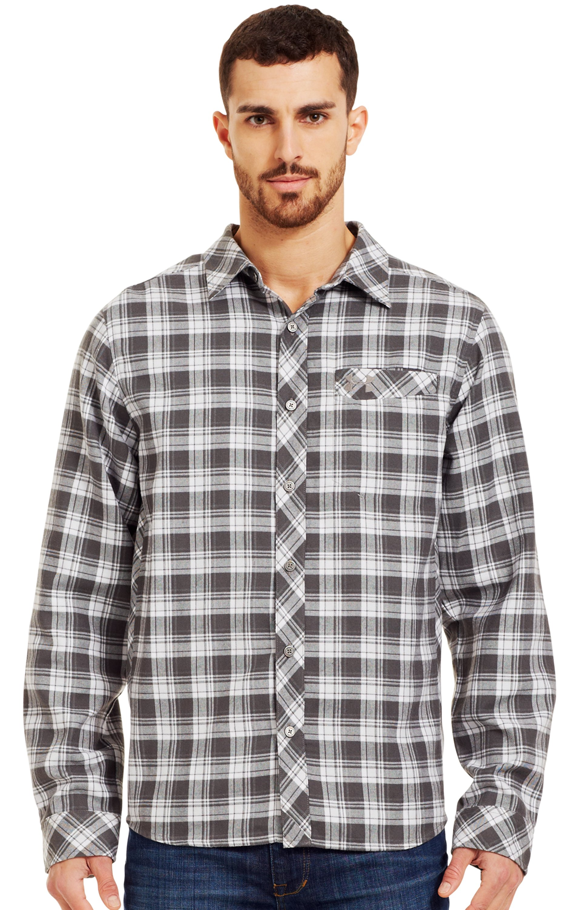 Men's UA Carthage Flannel, Battleship, Front