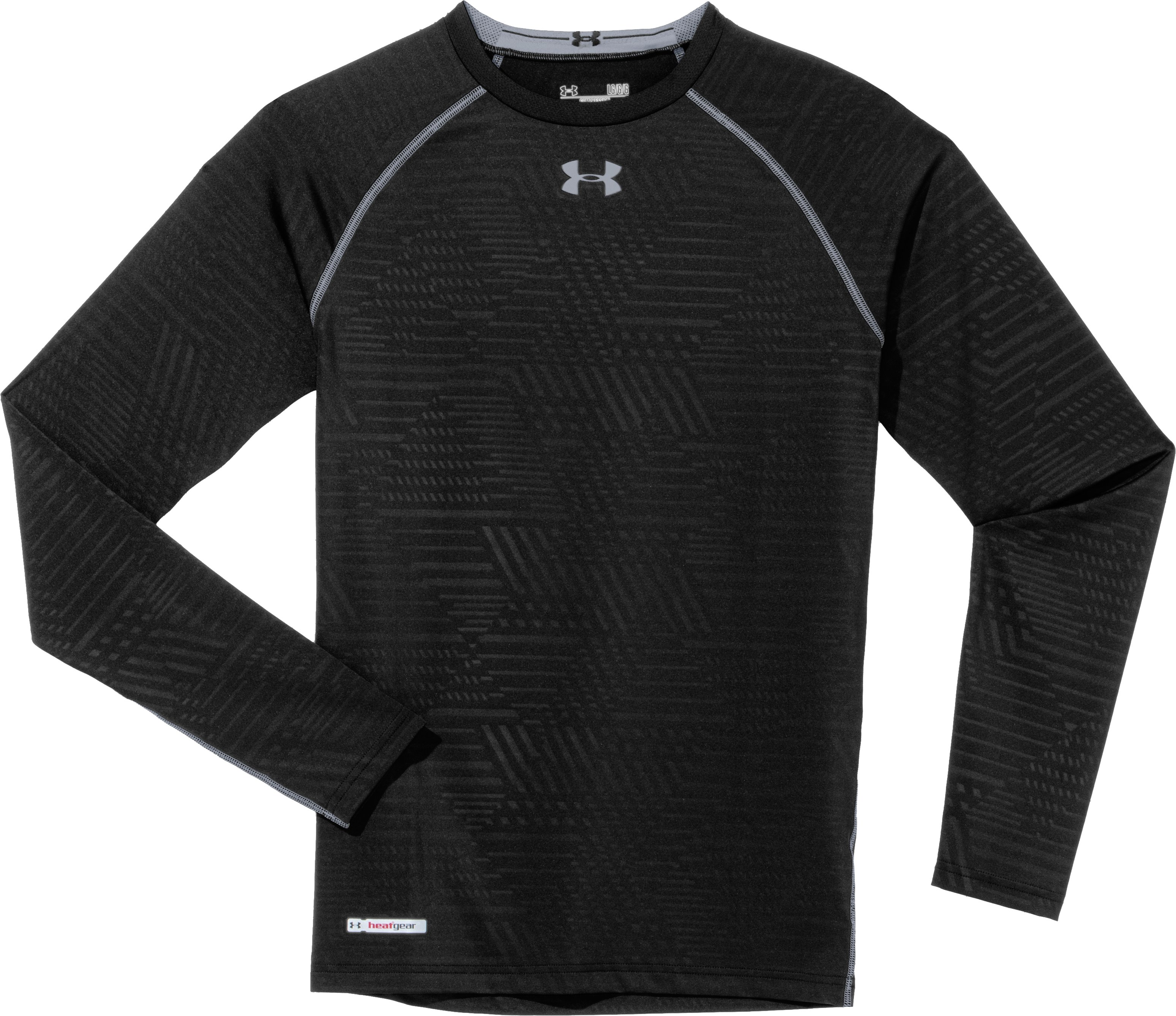 Men's HeatGear® Sonic Printed Compression Long Sleeve, Black , Laydown