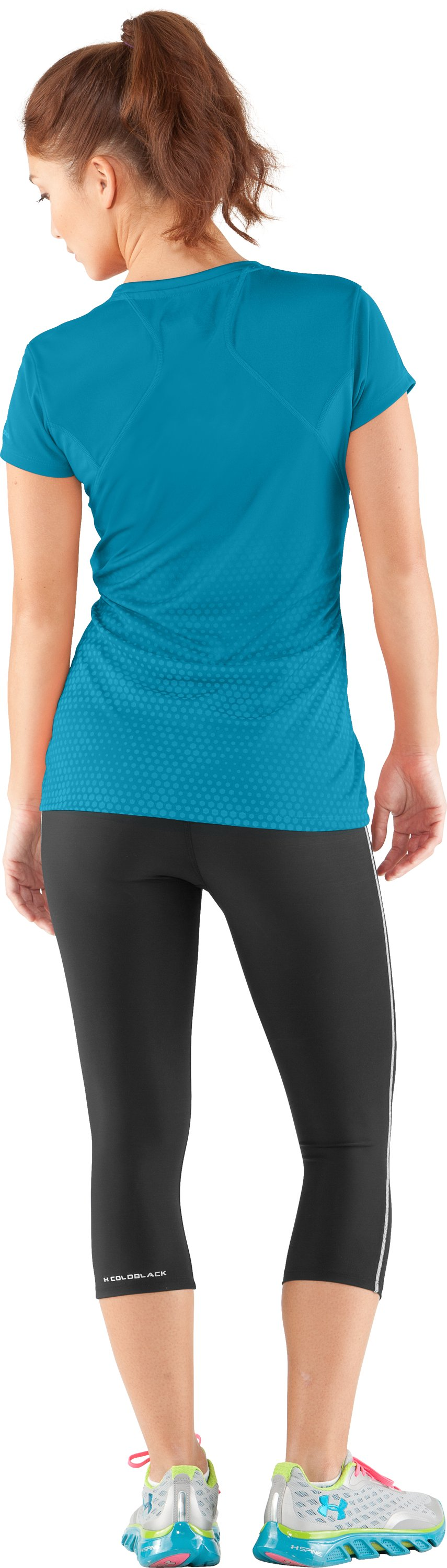 Women's UA coldblack® Run Short Sleeve, Deceit, Back