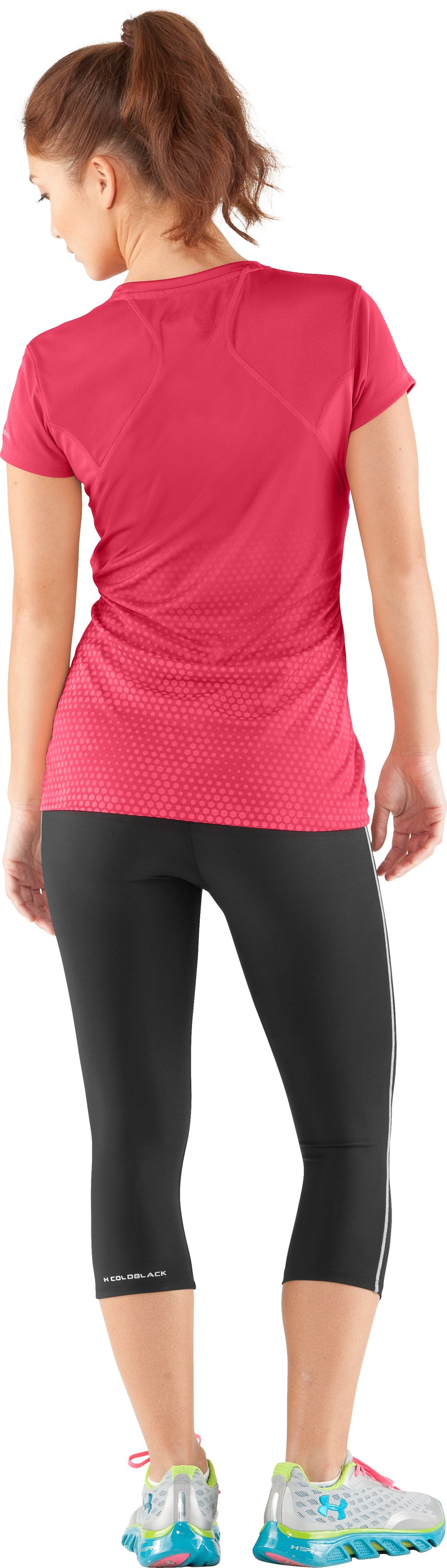 Women's UA coldblack® Run Short Sleeve, Hibiscus, Back