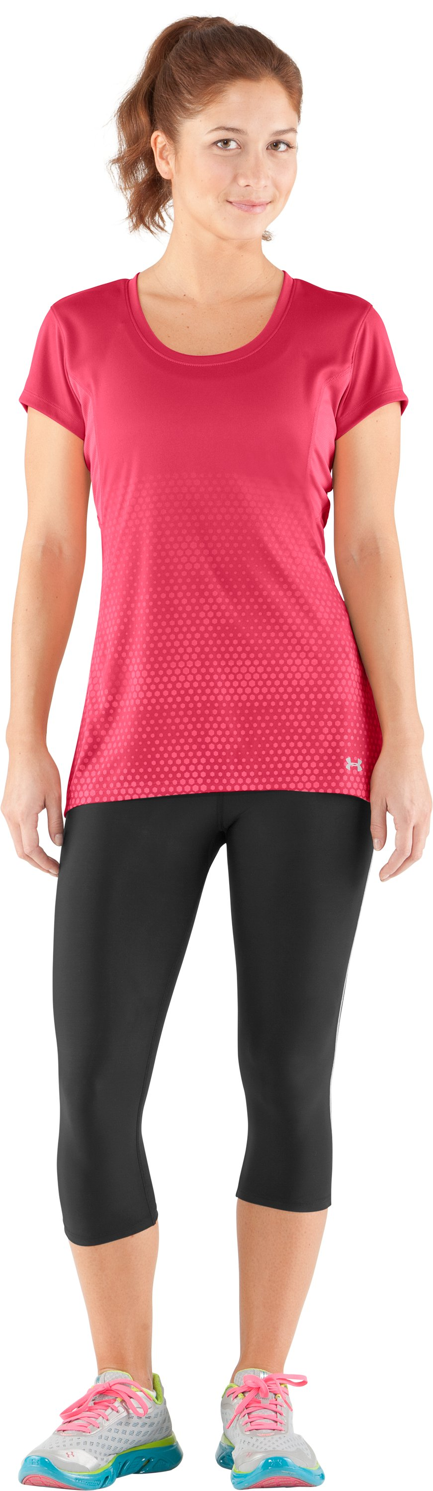 Women's UA coldblack® Run Short Sleeve, Hibiscus, Front