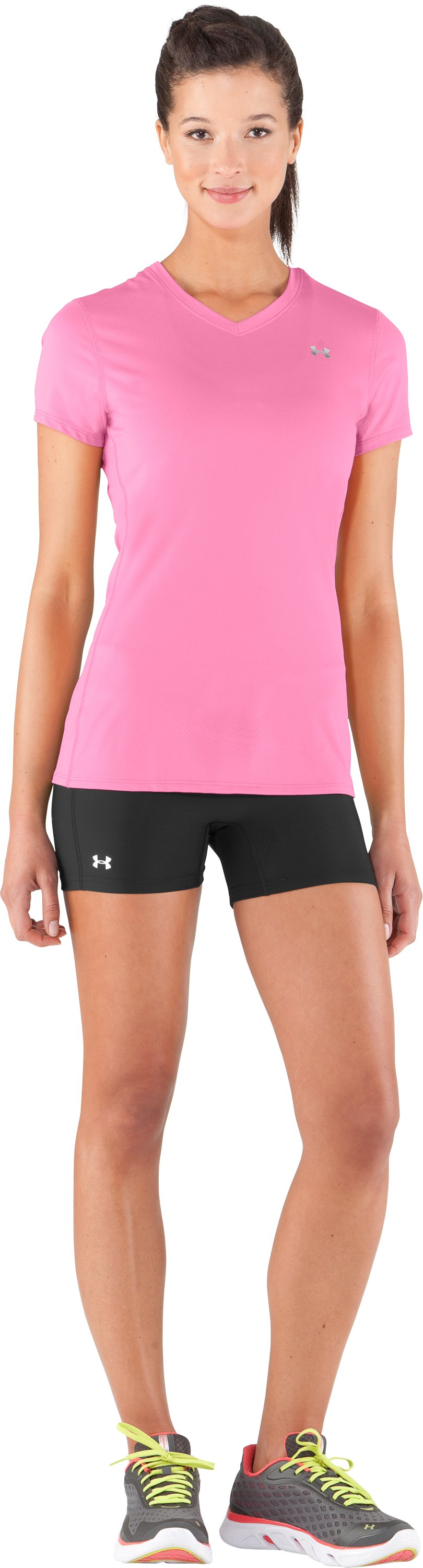 Women's UA Authentic T-Shirt, Fluo Pink, zoomed image