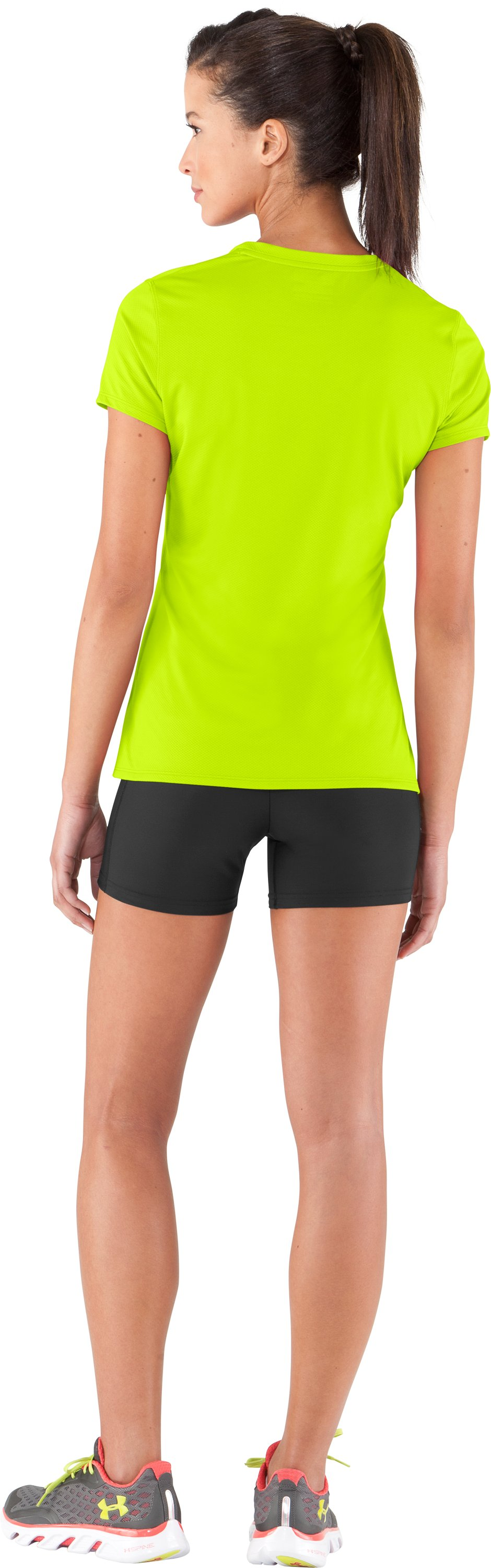 Women's UA Authentic T-Shirt, High-Vis Yellow, Back