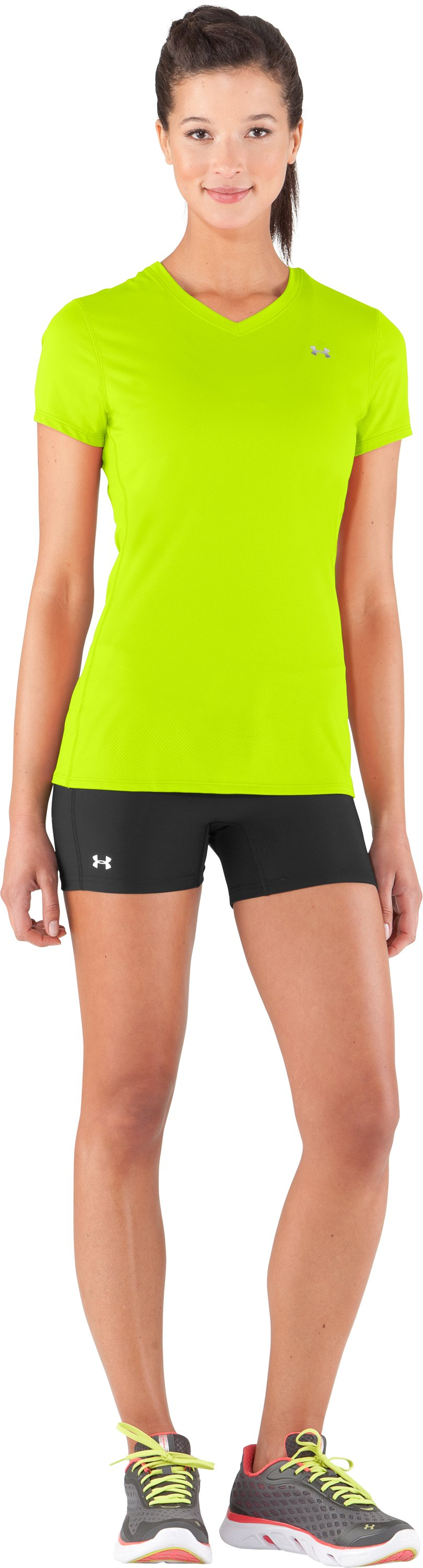 Women's UA Authentic T-Shirt, High-Vis Yellow, zoomed image