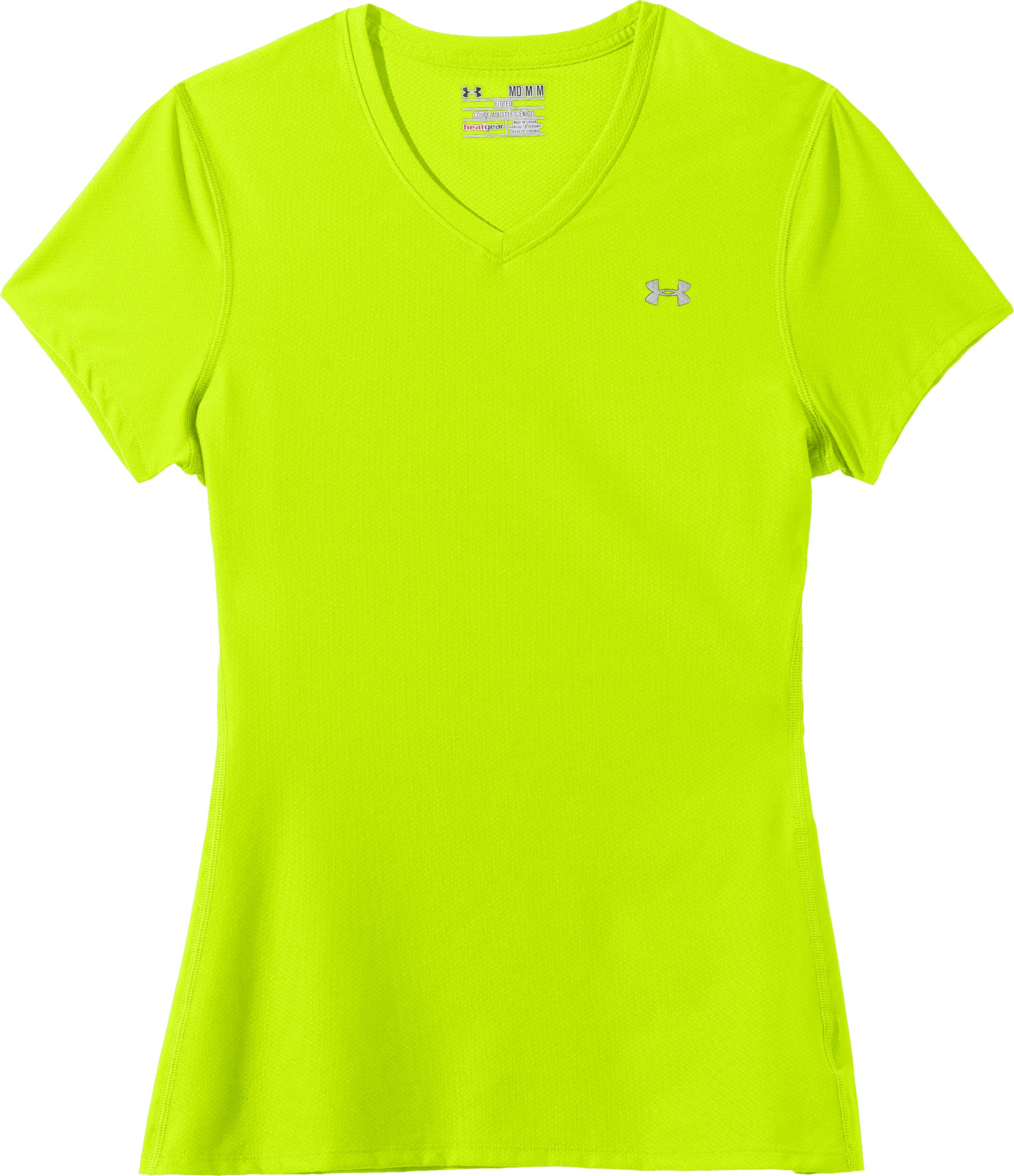 Women's UA Authentic T-Shirt, High-Vis Yellow, Laydown