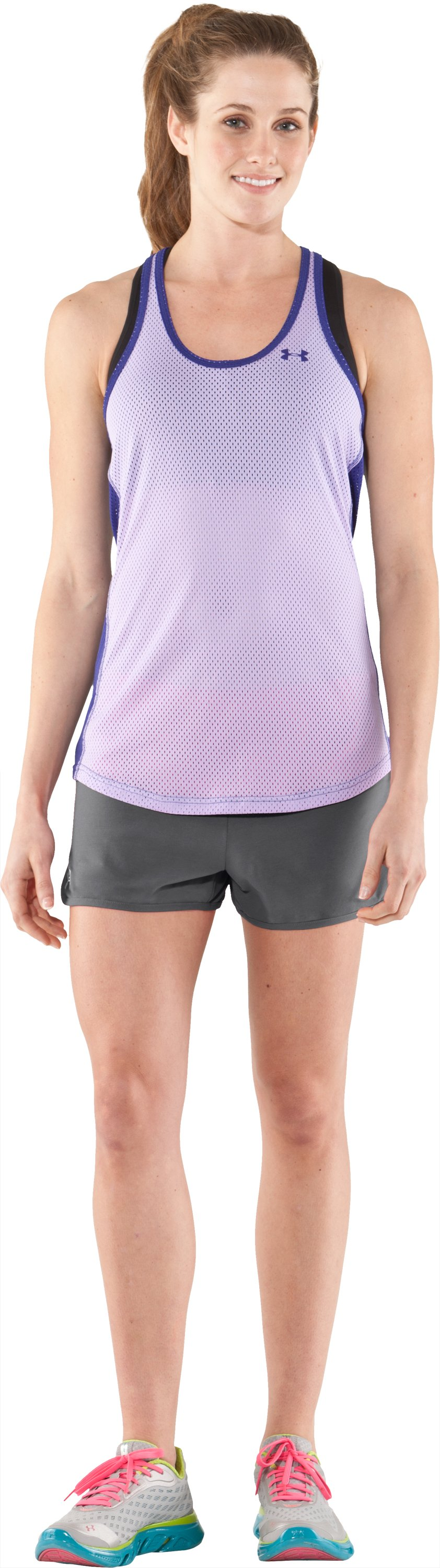 Women's UA Tidal Cotton Shorty, Graphite, Front