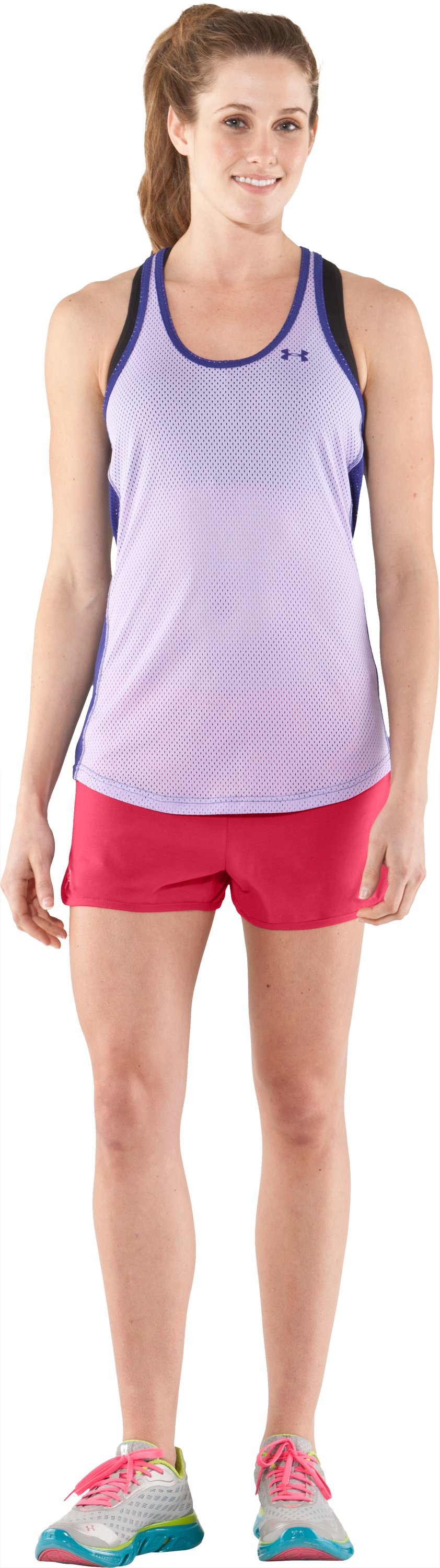 Women's UA Tidal Cotton Shorty, Hibiscus, Front