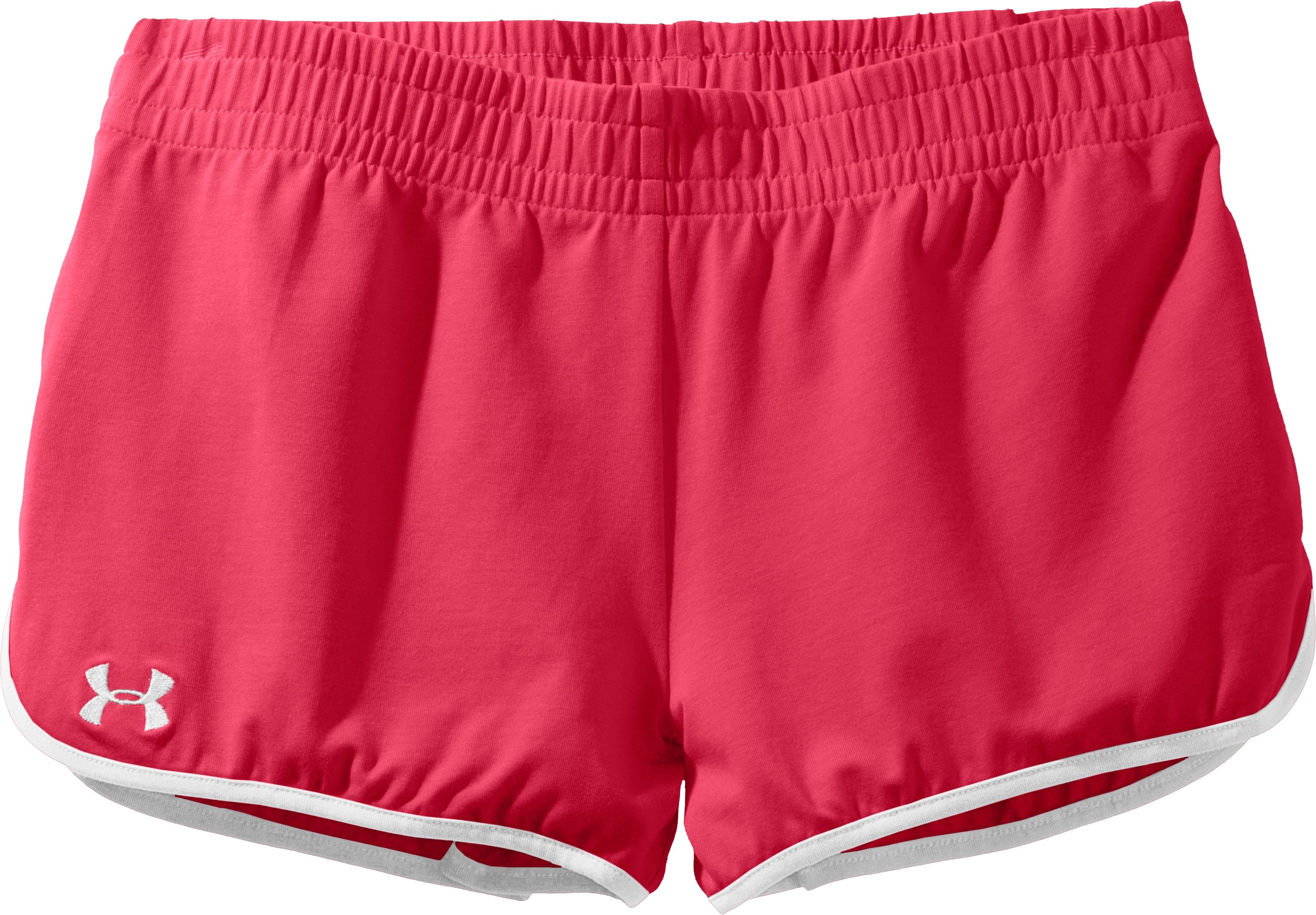 Women's UA Tidal Cotton Shorty, Hibiscus, Laydown