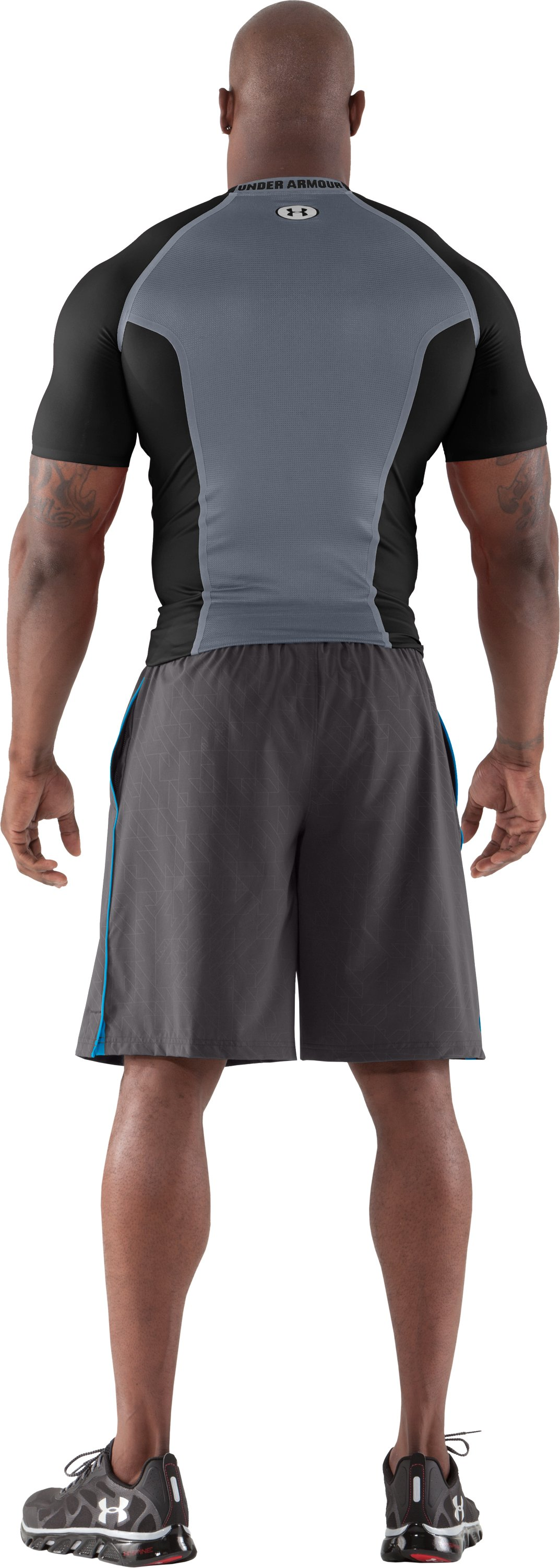 Men's HeatGear® Dynasty Vented Compression Short Sleeve, Black , Back