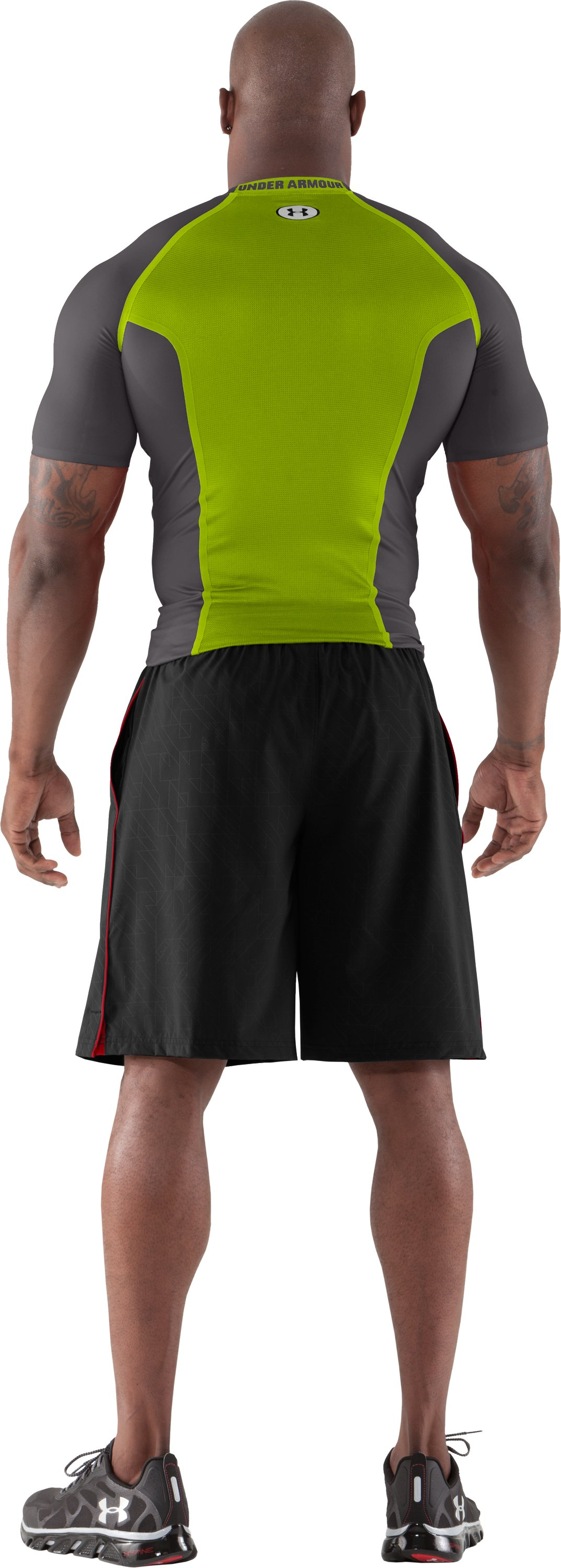 Men's HeatGear® Dynasty Vented Compression Short Sleeve, Charcoal, Back