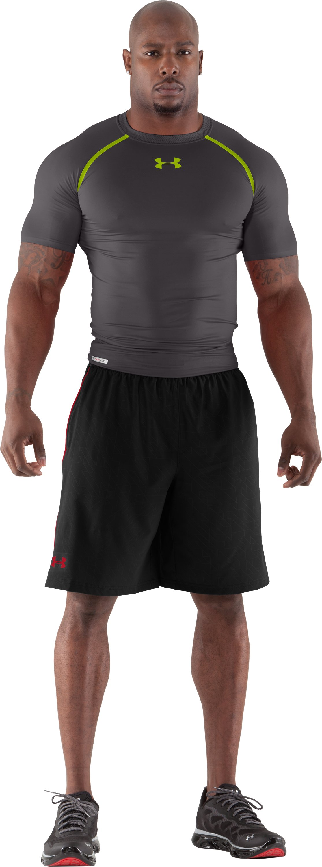 Men's HeatGear® Dynasty Vented Compression Short Sleeve, Charcoal, Front