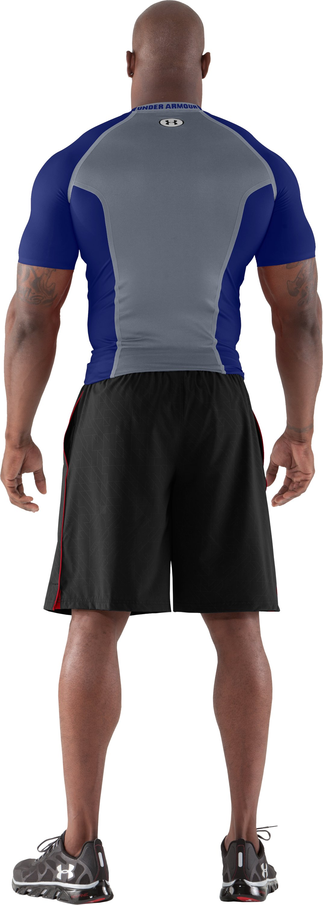 Men's HeatGear® Dynasty Vented Compression Short Sleeve, Royal, Back