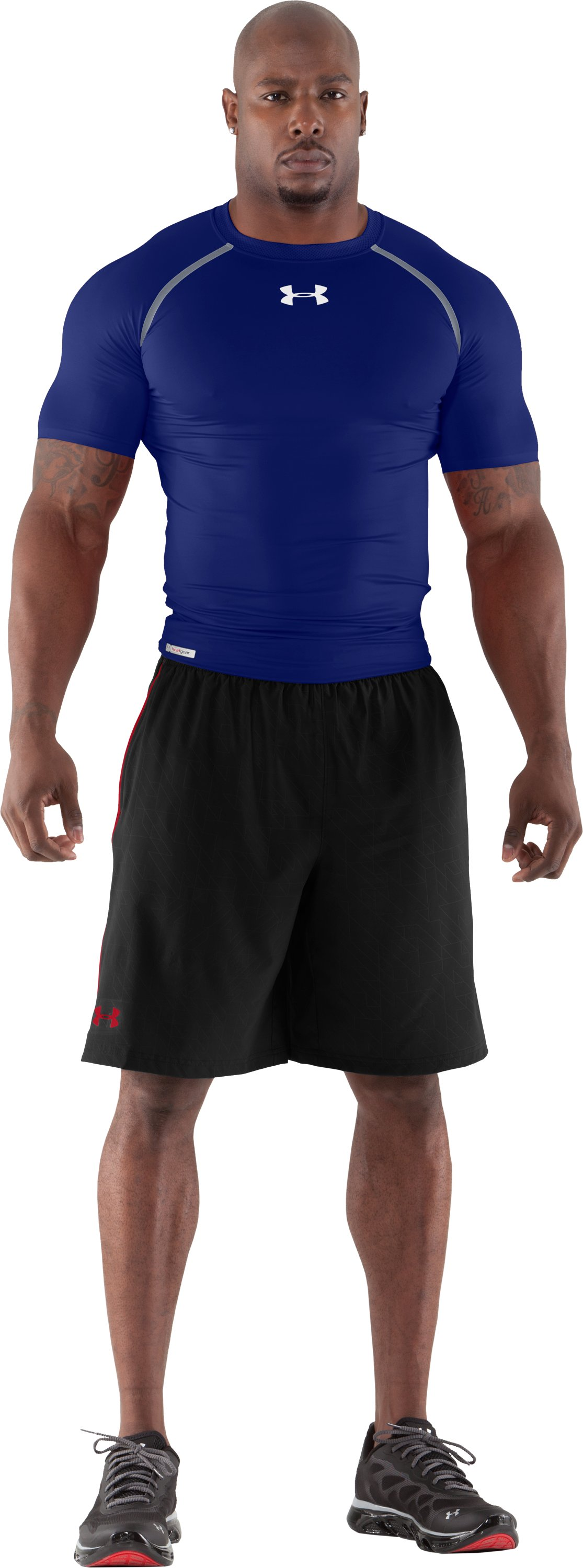 Men's HeatGear® Dynasty Vented Compression Short Sleeve, Royal, Front