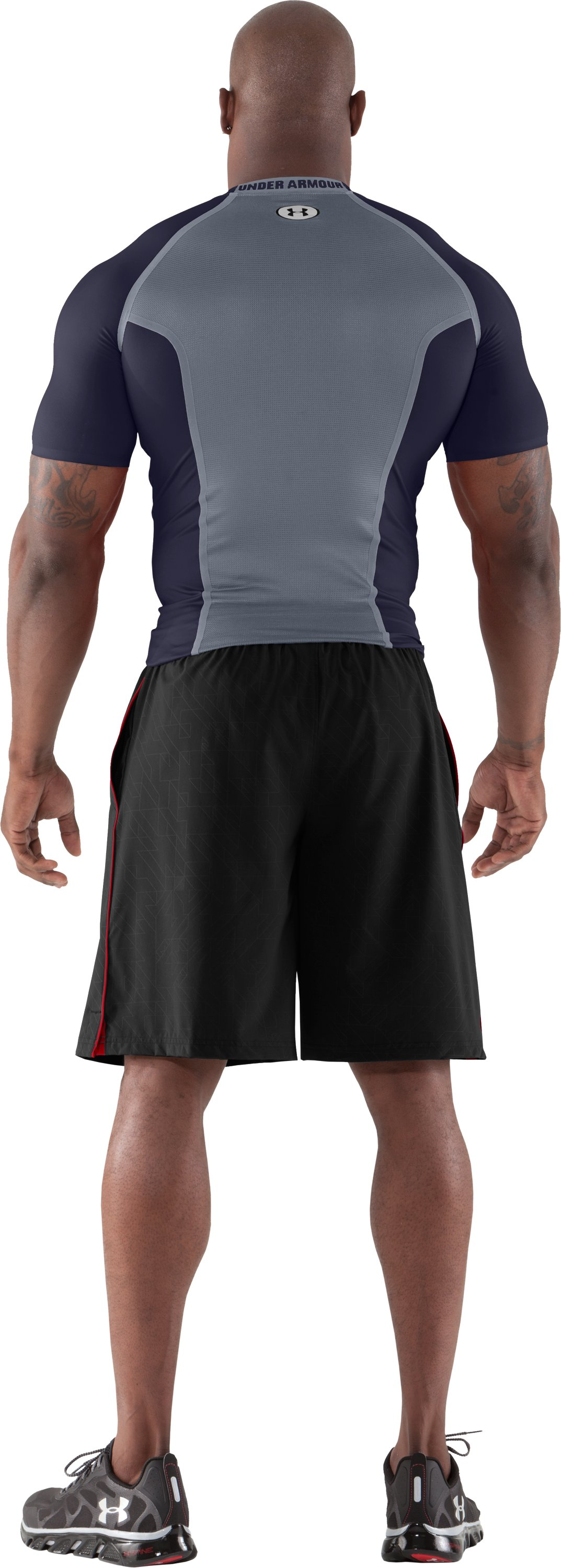 Men's HeatGear® Dynasty Vented Compression Short Sleeve, Midnight Navy, Back