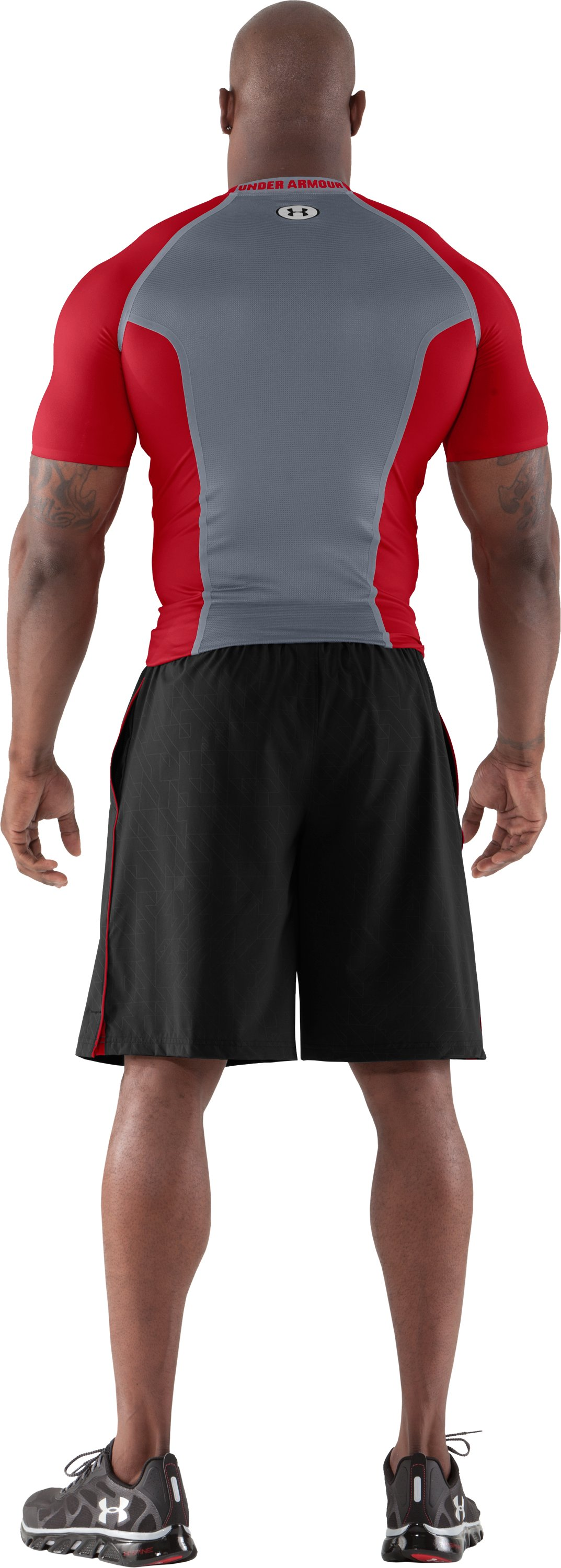 Men's HeatGear® Dynasty Vented Compression Short Sleeve, Red, Back