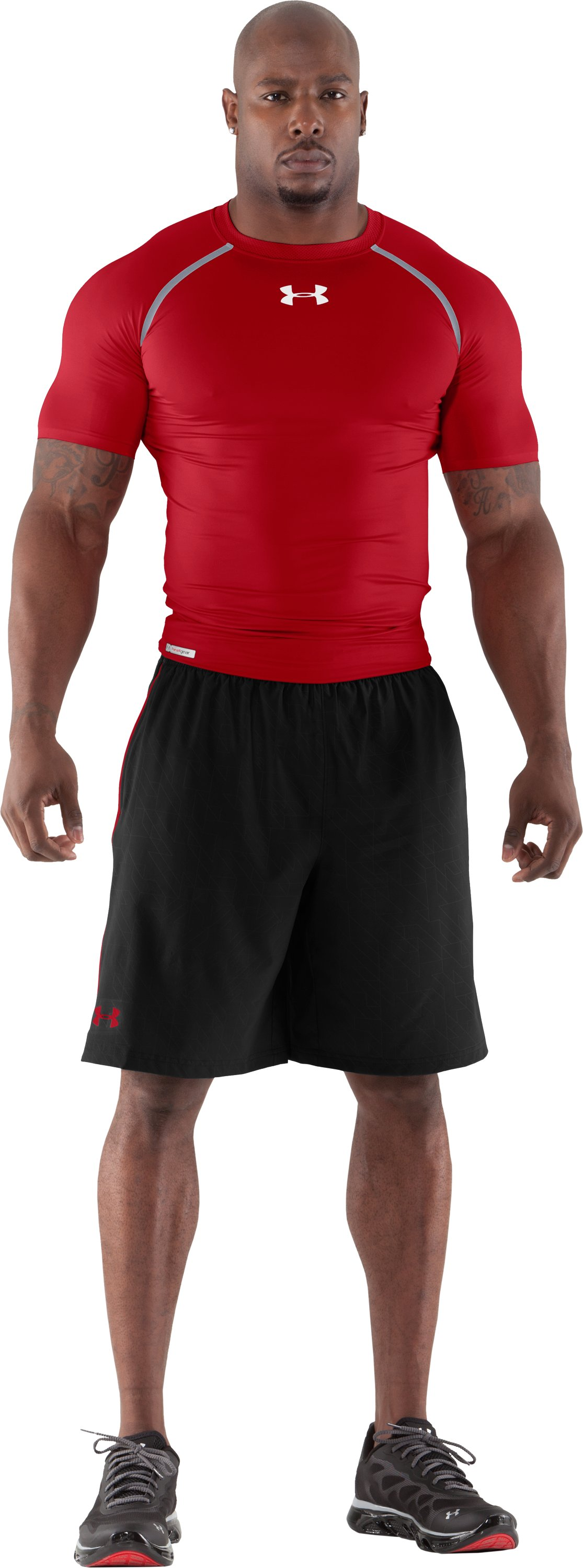 Men's HeatGear® Dynasty Vented Compression Short Sleeve, Red, Front