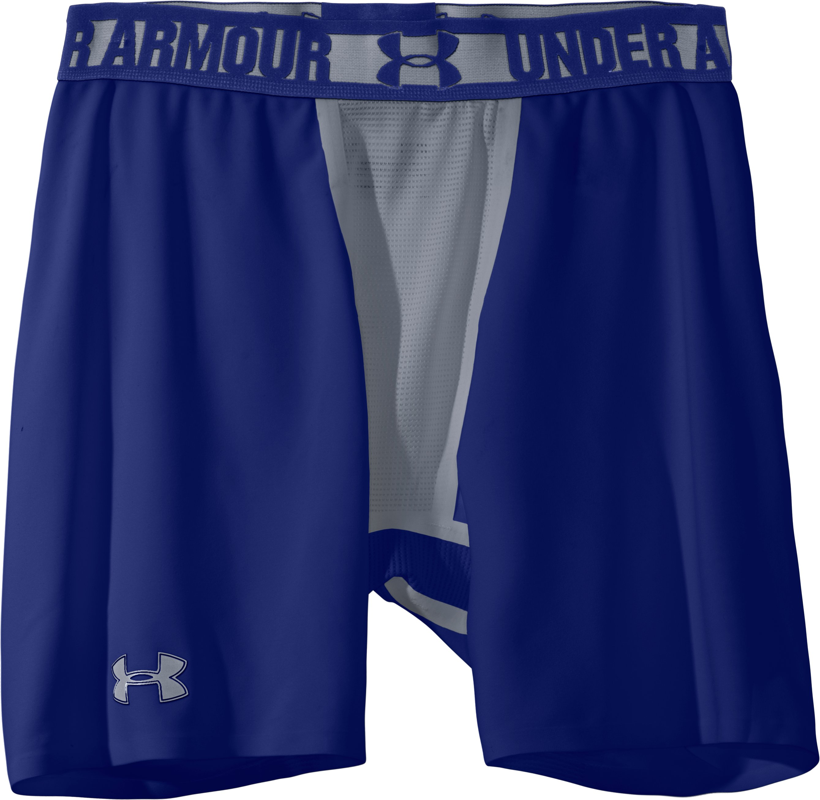 "Men's HeatGear® Dynasty Vented 6"" Compression Shorts, Royal, Laydown"