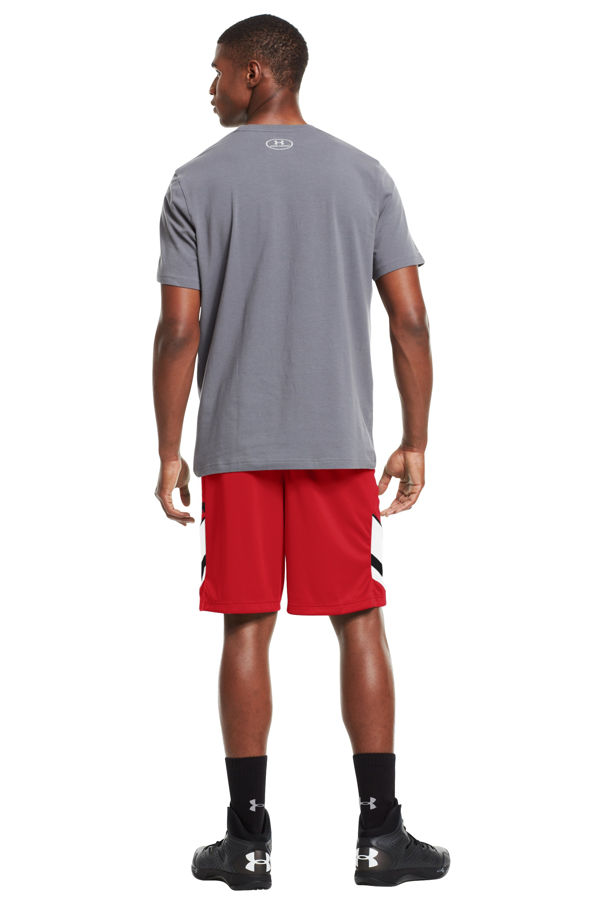 "Men's UA Hititnsplitit 10"" Shorts, Red, Back"