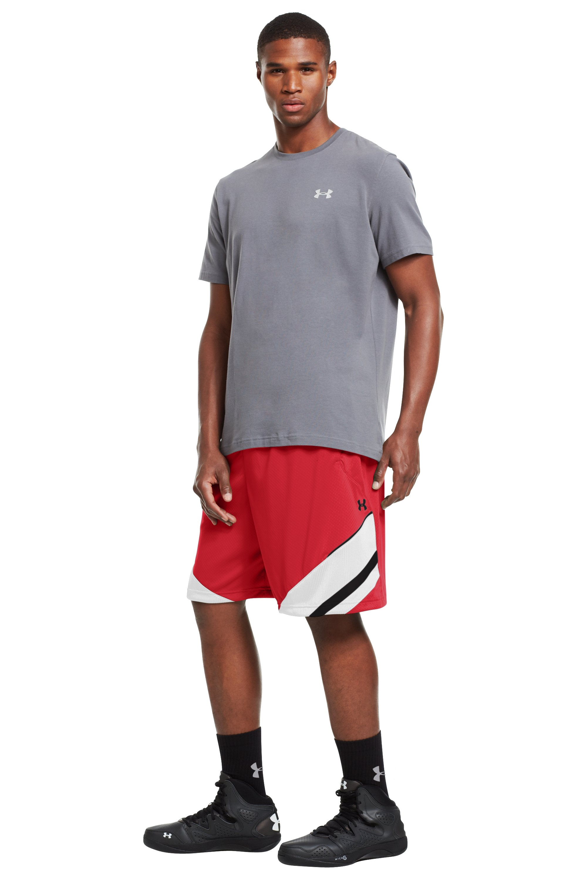 "Men's UA Hititnsplitit 10"" Shorts, Red, zoomed image"