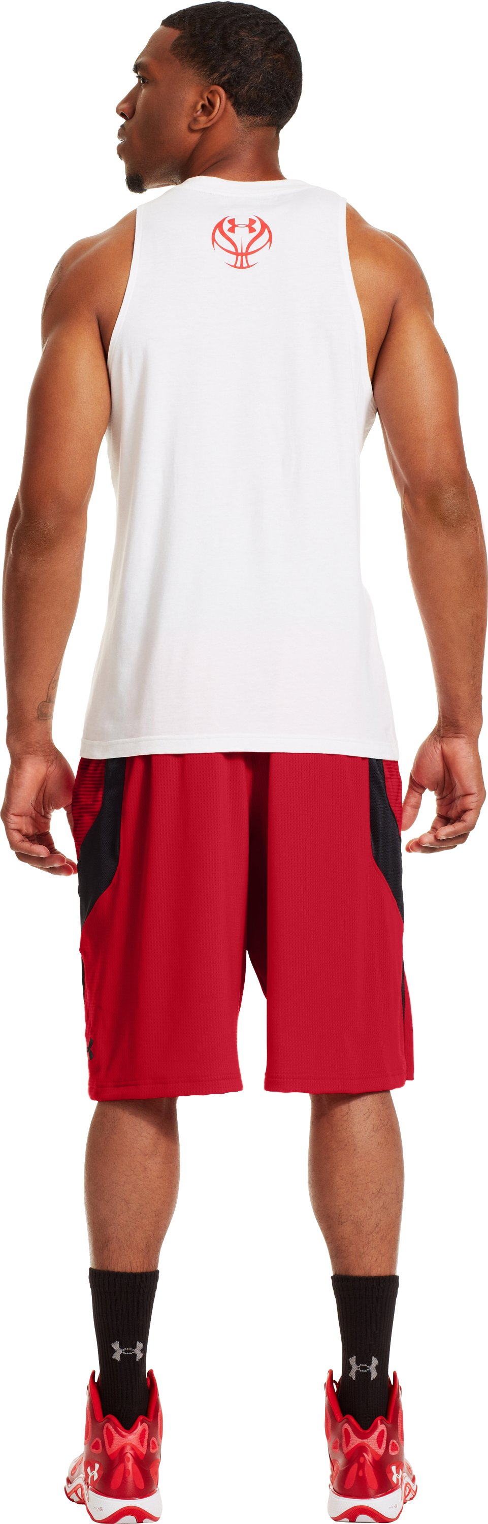 "Men's UA Ubettablieveit 12"" Shorts, Red, Back"