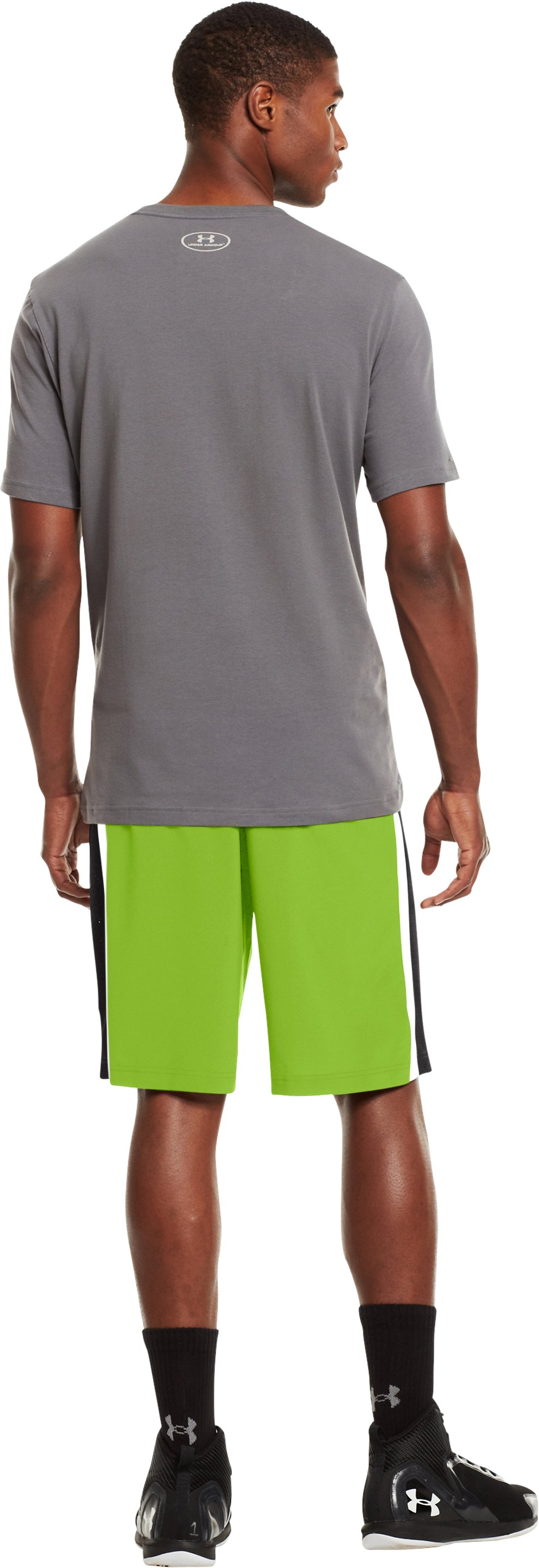 "Men's UA Runwitit 12"" Shorts, HYPER GREEN, Back"