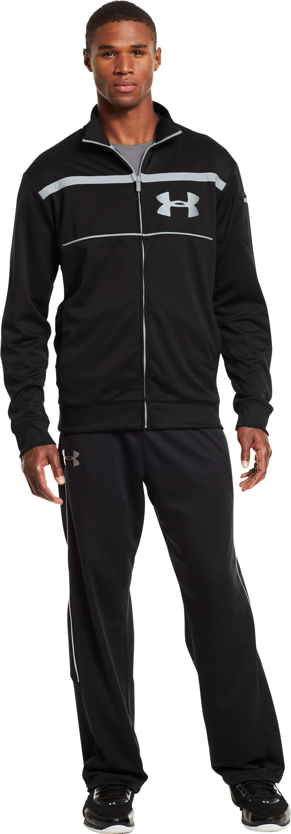 Men's UA Hustleaftait Jacket, Black , Front