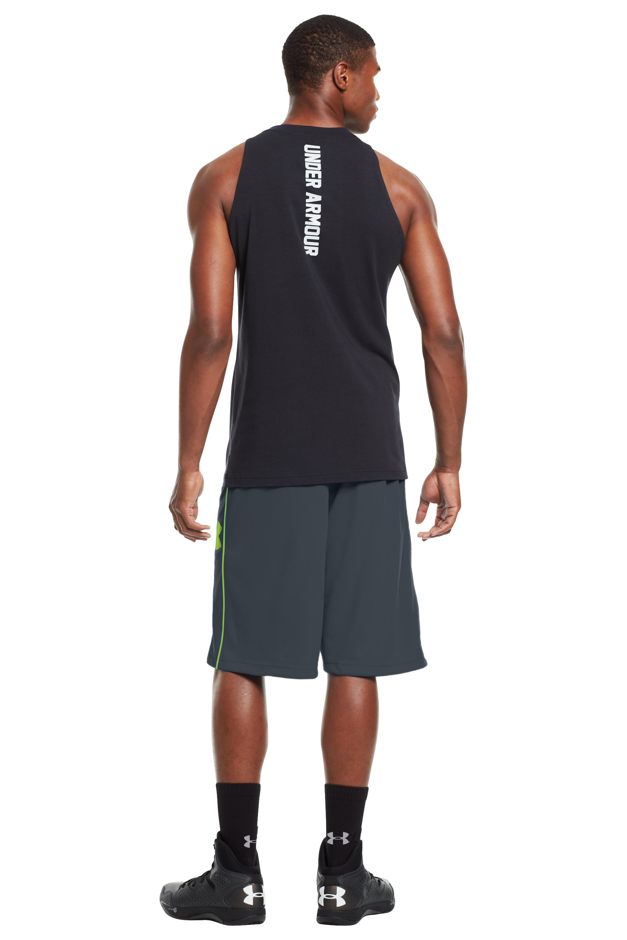 "Men's UA Kicknit 12"" Shorts, Charcoal, Back"