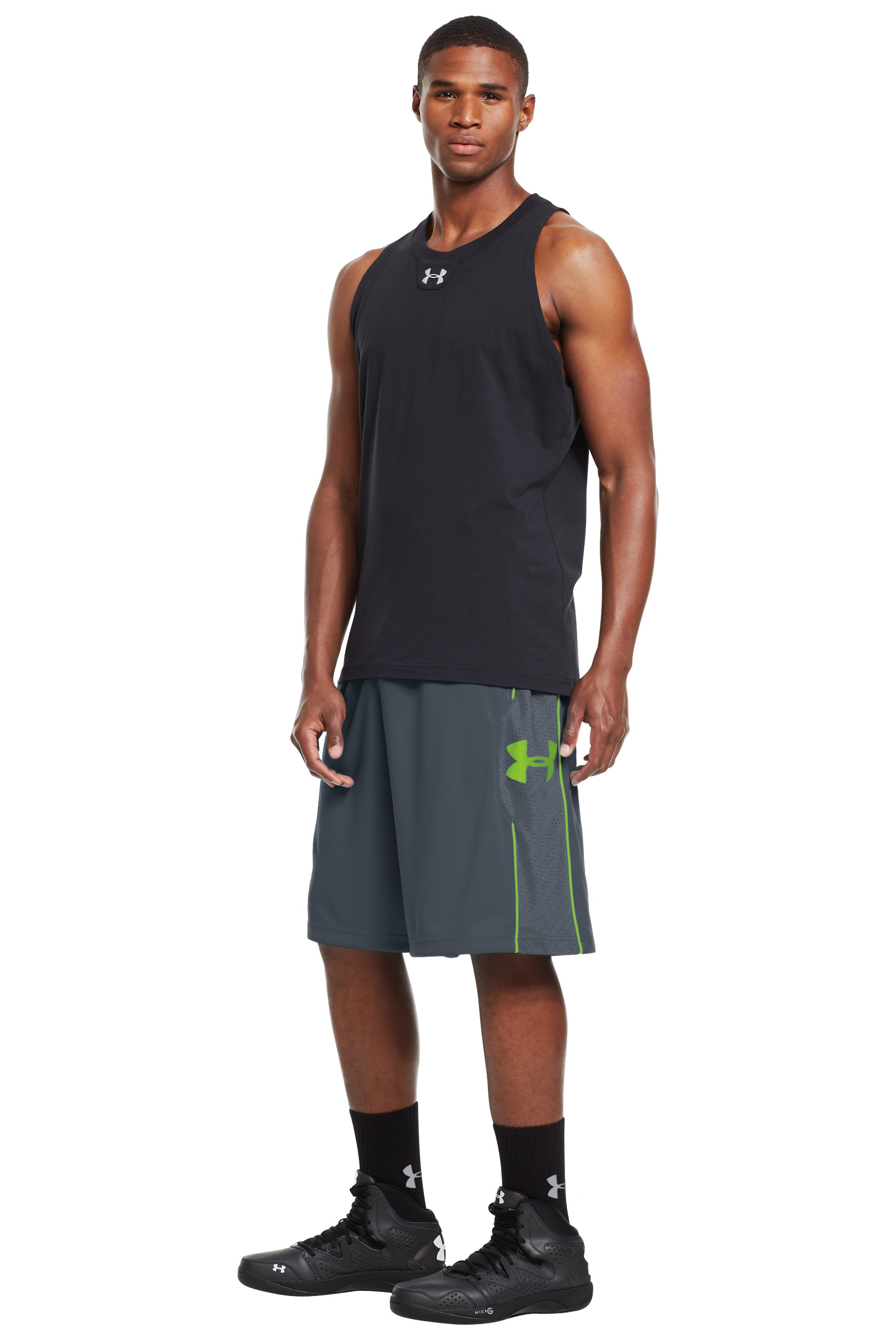 "Men's UA Kicknit 12"" Shorts, Charcoal, zoomed image"