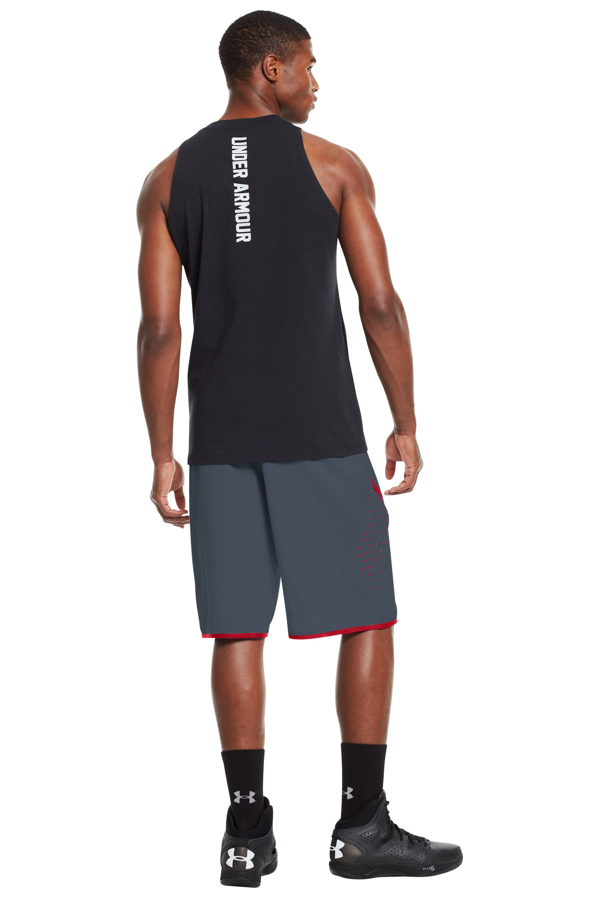 "Men's UA Comengetit 12"" Shorts, Charcoal, Back"